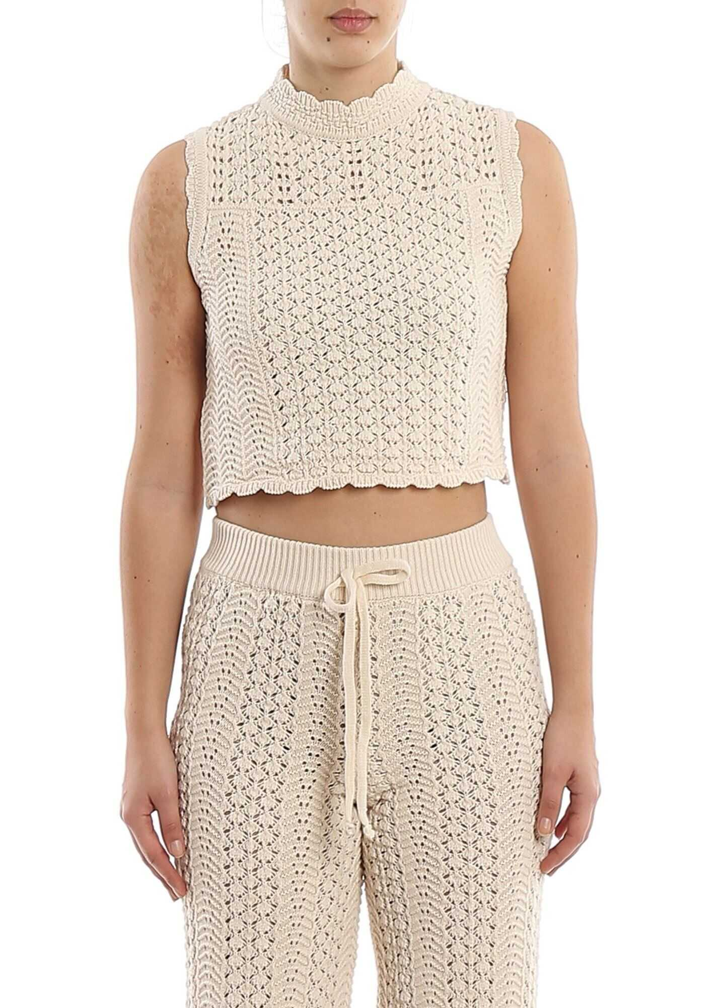 Pinko Cavedano Cotton Crochet Cropped Top Cream