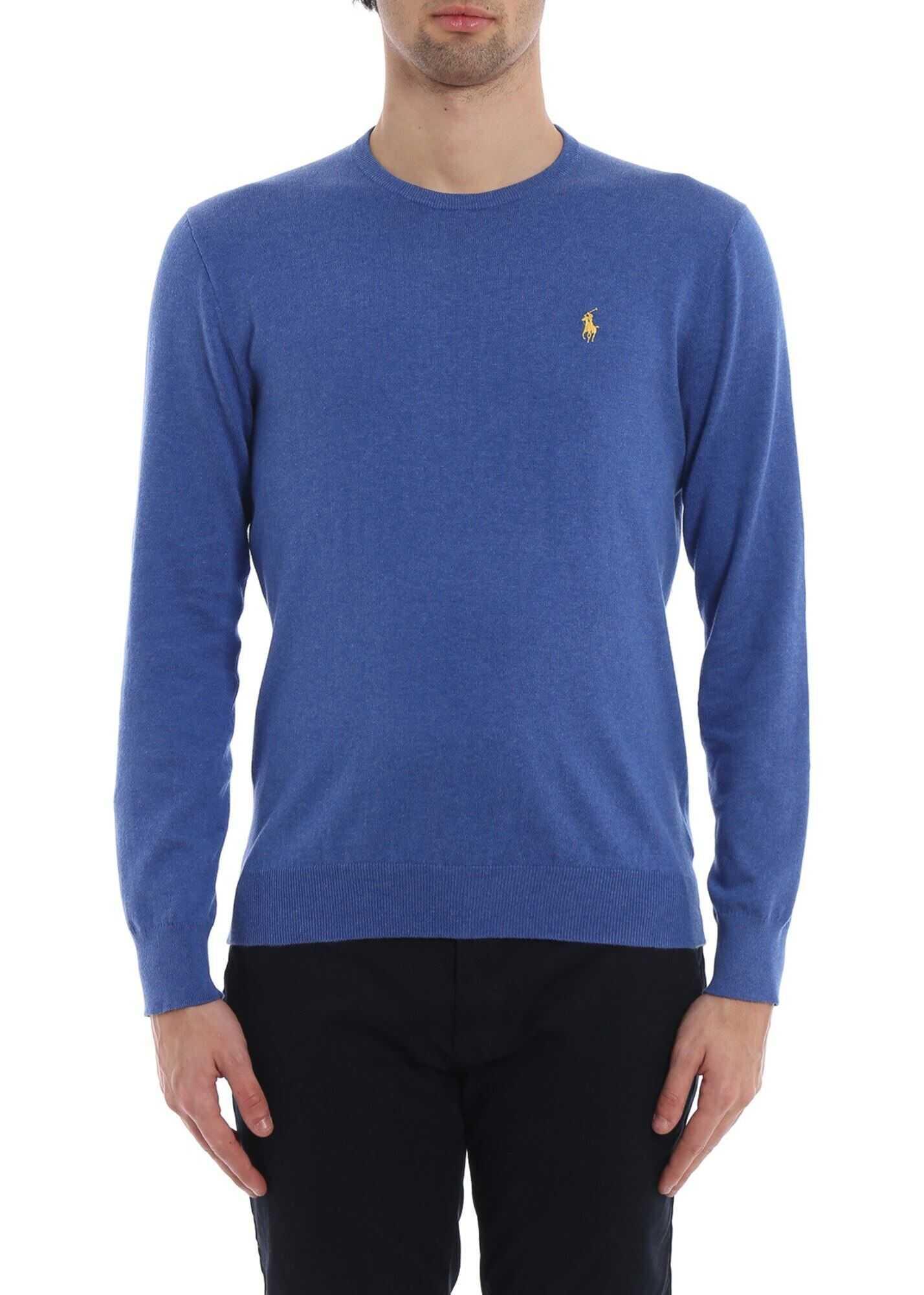 Ralph Lauren Slim Fit Royal Blue Cotton Sweater Blue