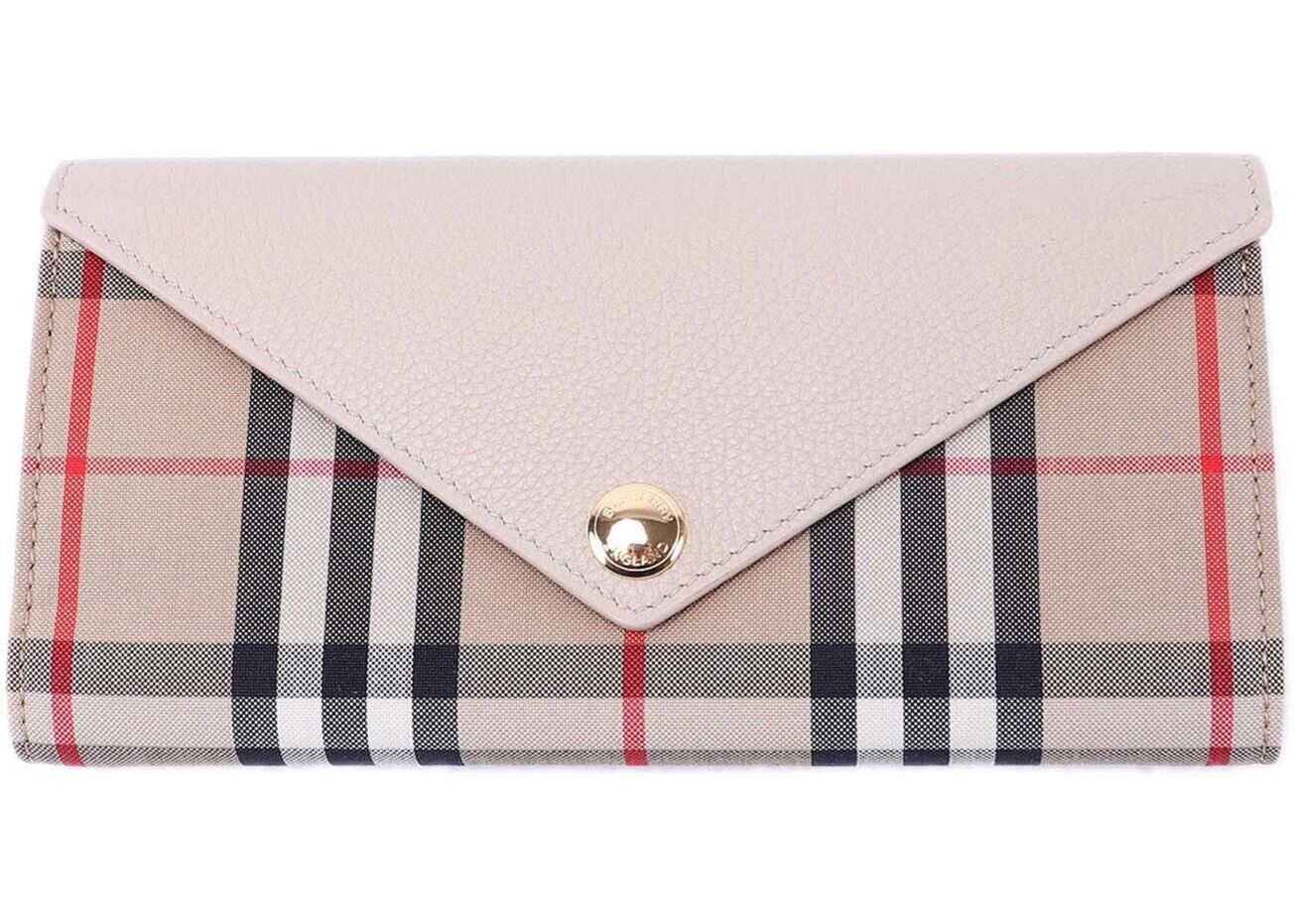 Burberry Halton Vintage Check Leather Wallet Beige