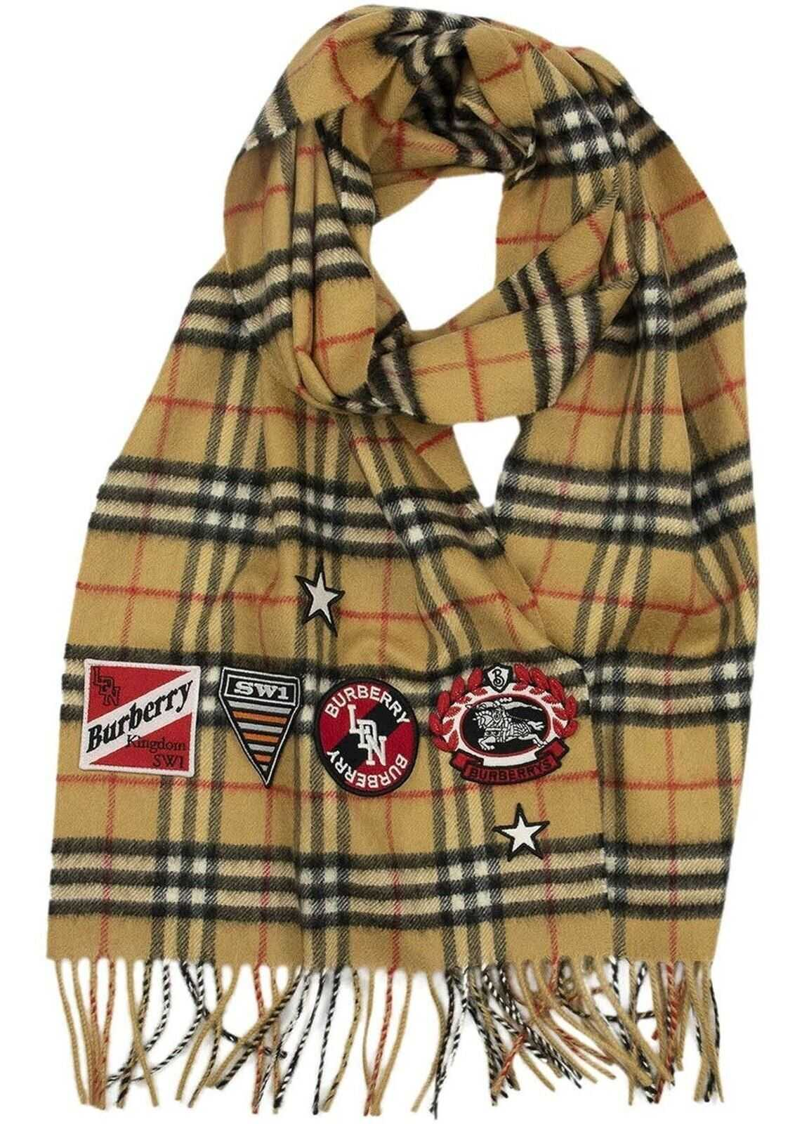 Burberry Vintage Check Scarf With Crests Beige