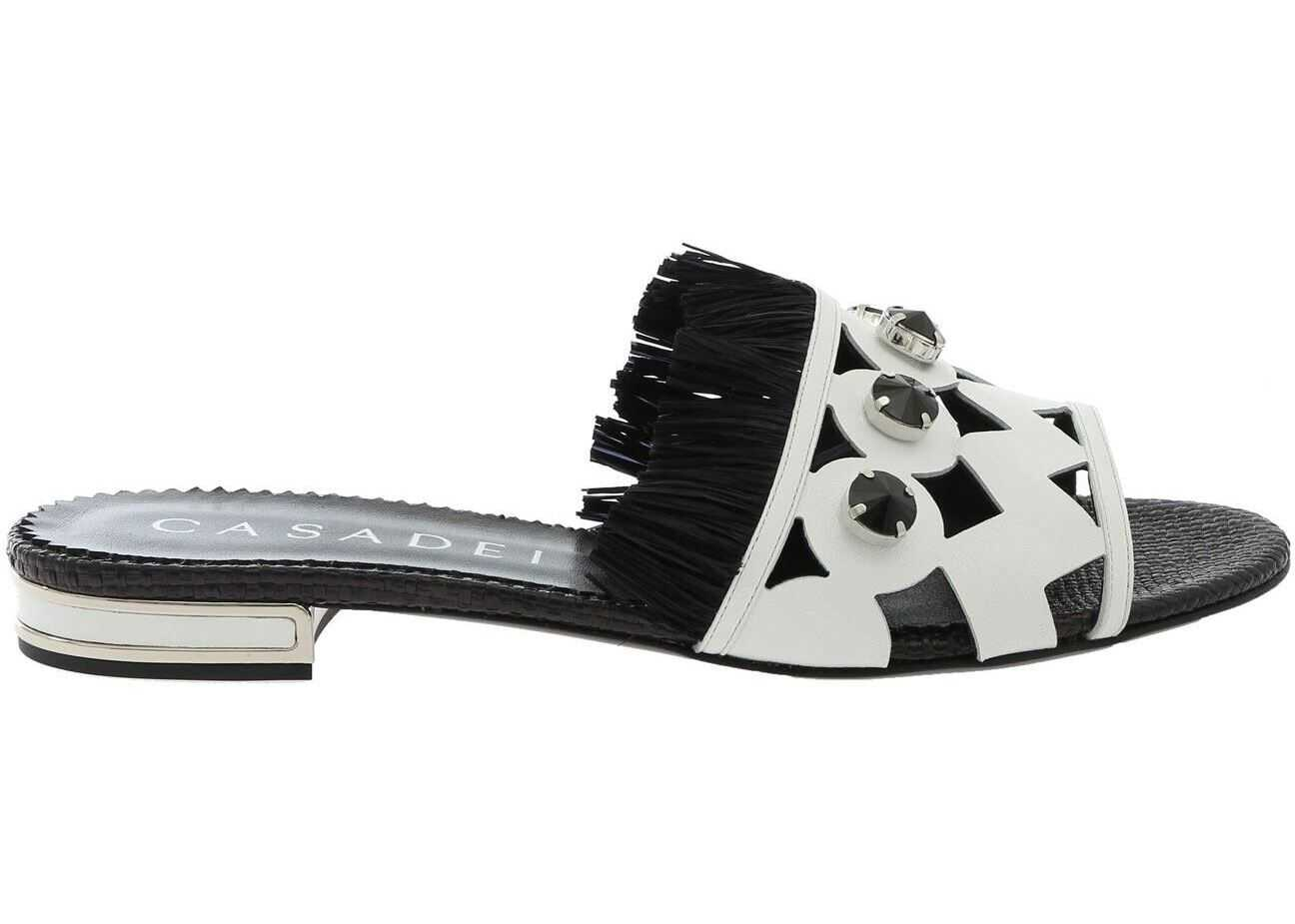 Casadei Minorca Sandals In Black And White With Fringes Black