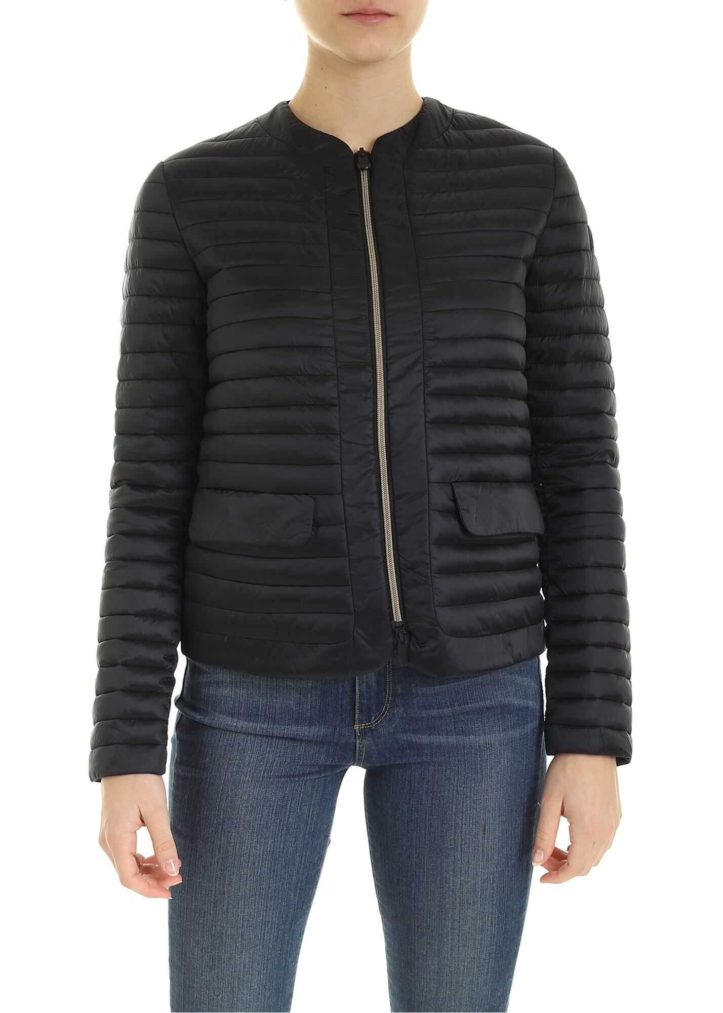 Save the Duck Quilted Jacket With Pockets In Black Black