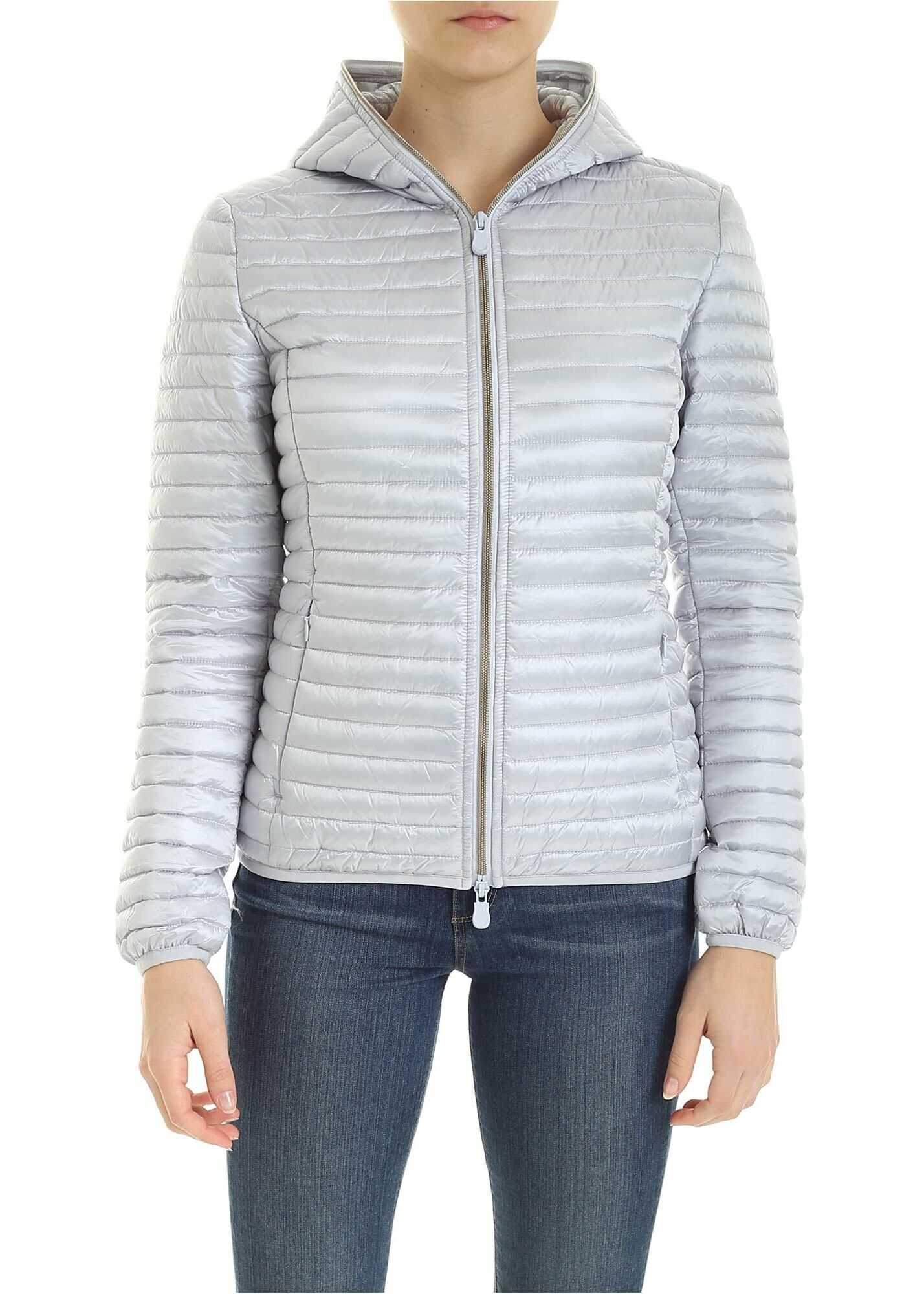 Save the Duck Quilted Down Jacket With Logo Patch In Light Blue Light Blue