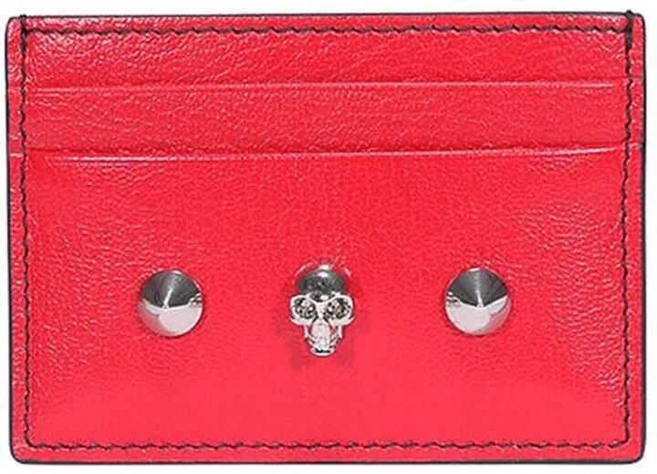 Alexander McQueen Skull And Stud Red Card Holder Red