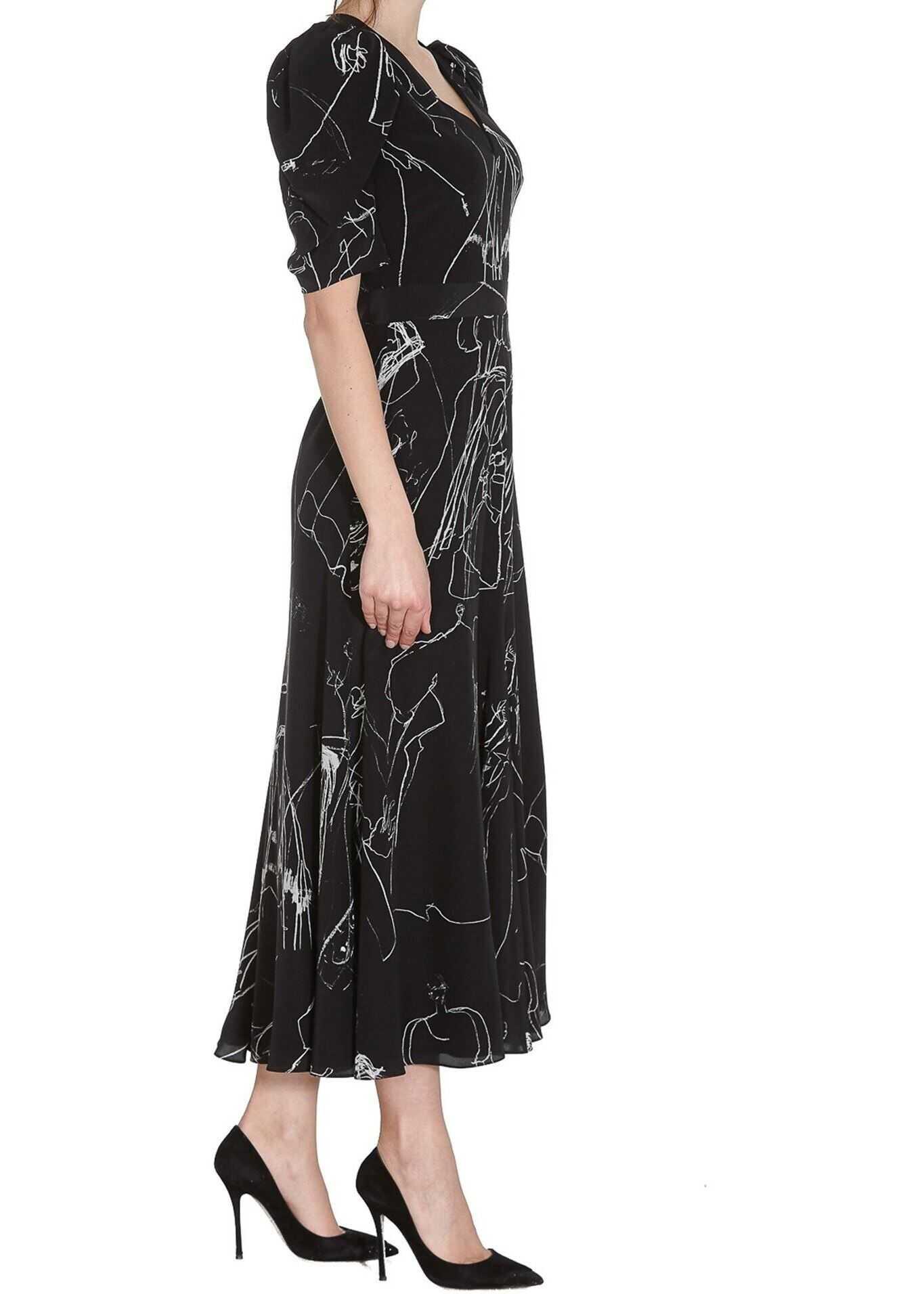 Alexander McQueen Crepe De Chine Dress Black