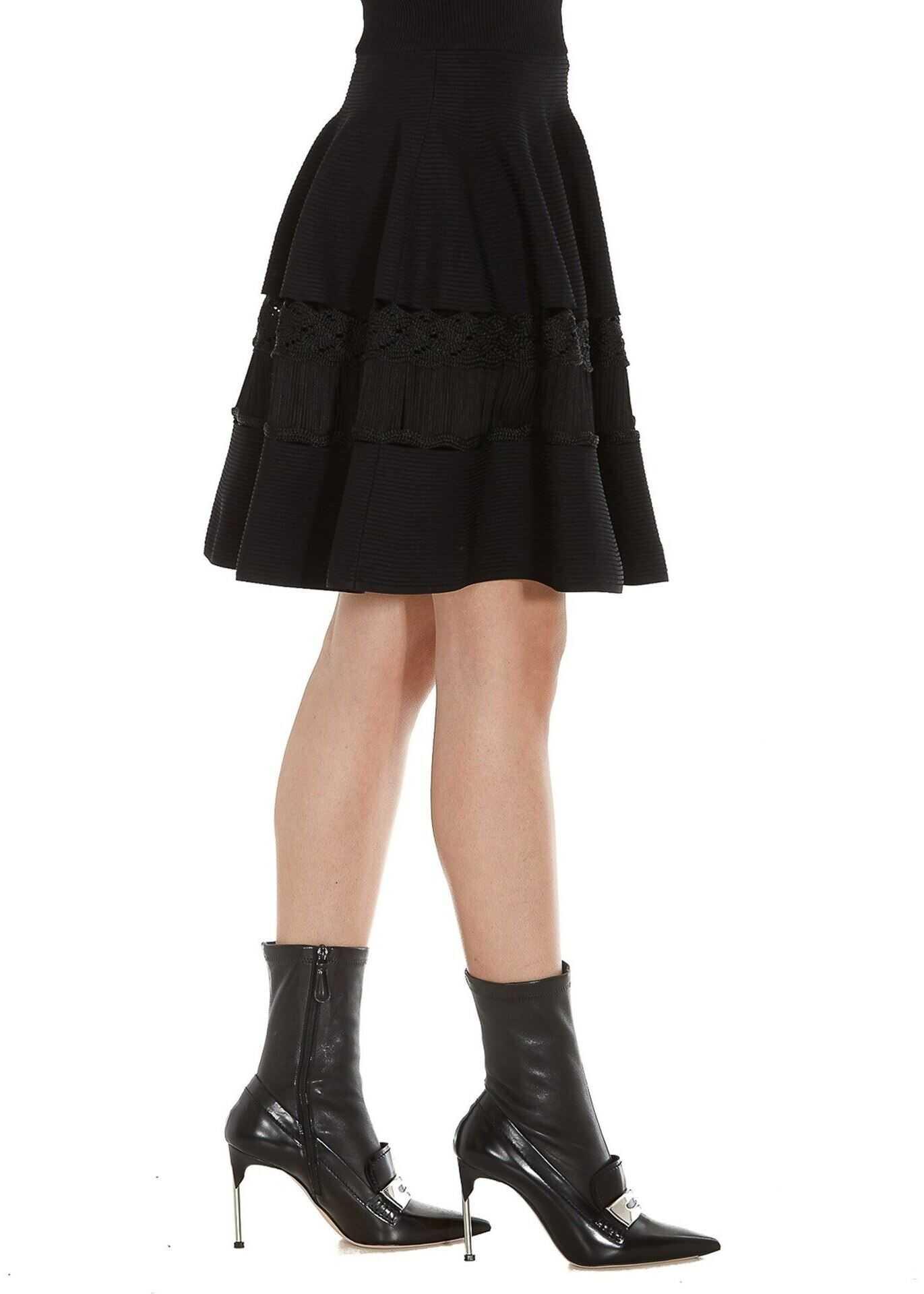 Alexander McQueen Ottoman Knitted Mini Skirt Black