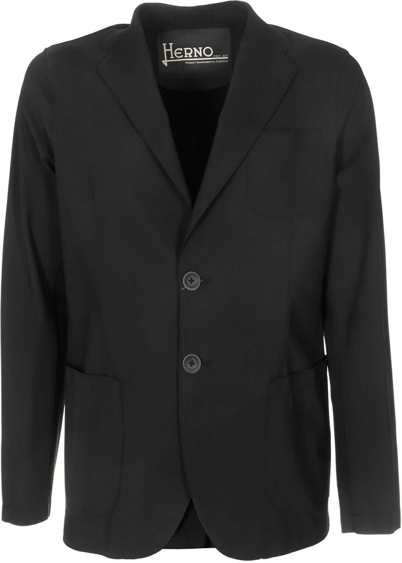 Herno Single-Breasted Blazer In Black Black imagine