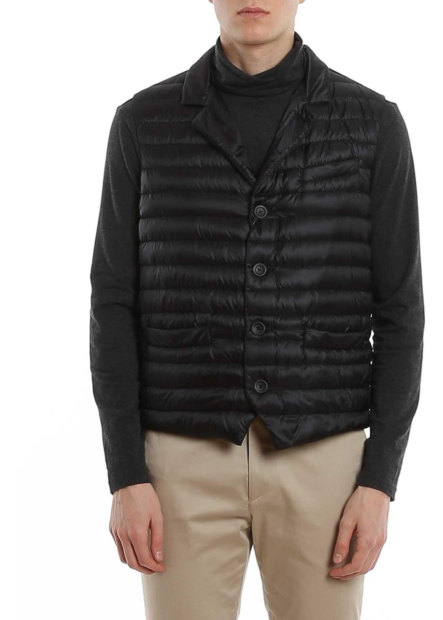 Herno Padded Front Vest Black