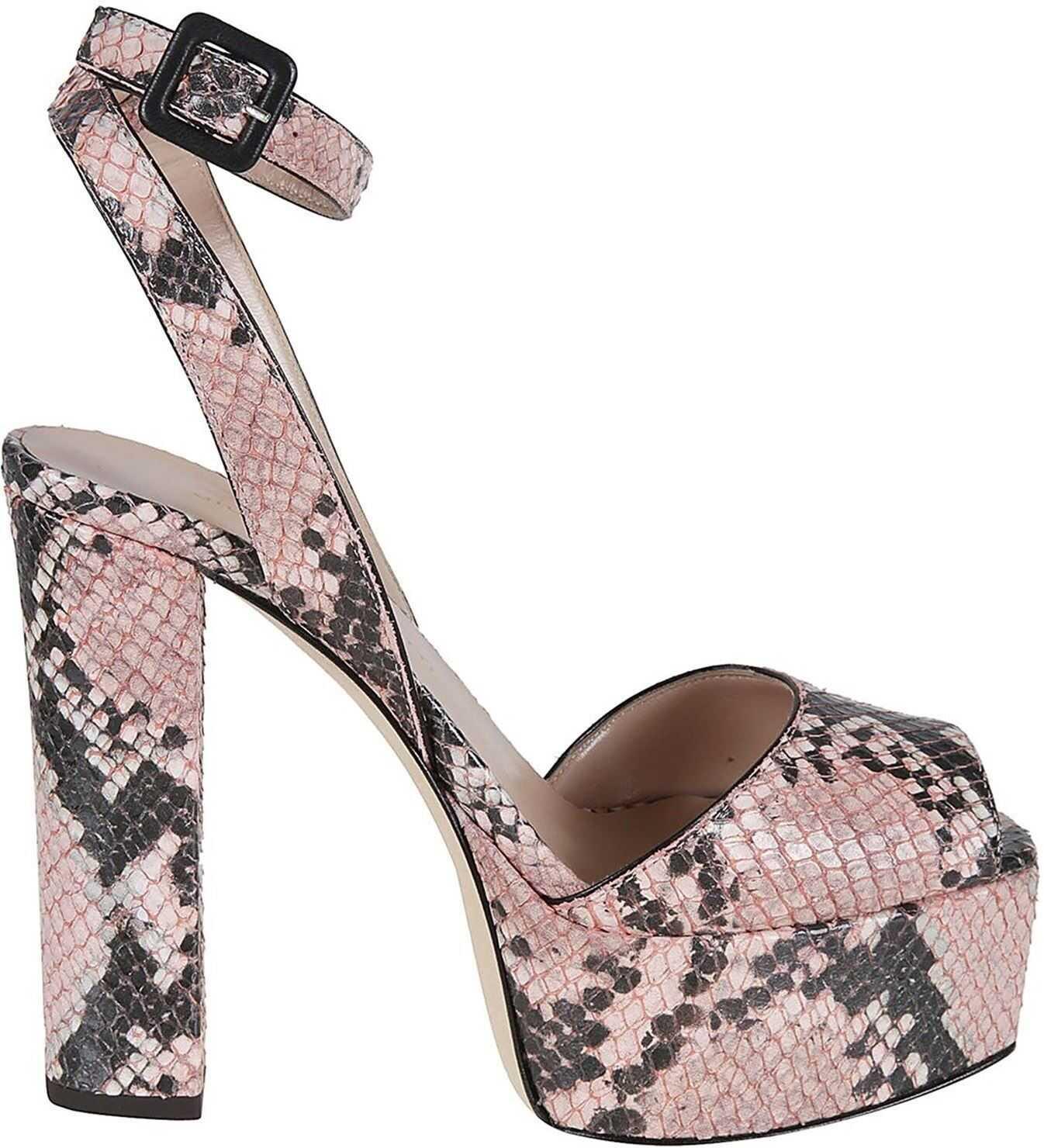 Giuseppe Zanotti Betty Reptile Printed Leather Sandals Pink