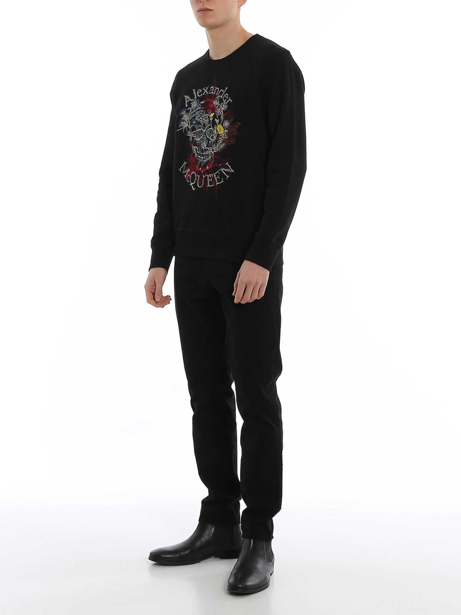 Alexander McQueen Glowing Botanical Skull Sweatshirt Black