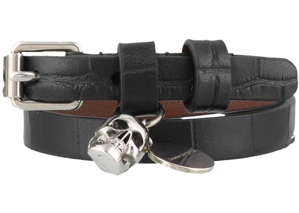 Alexander McQueen Skull Croco Print Double Wrap Bracelet Black