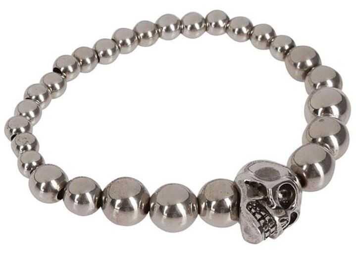 Alexander McQueen Skull Brass Elasticated Bracelet Silver