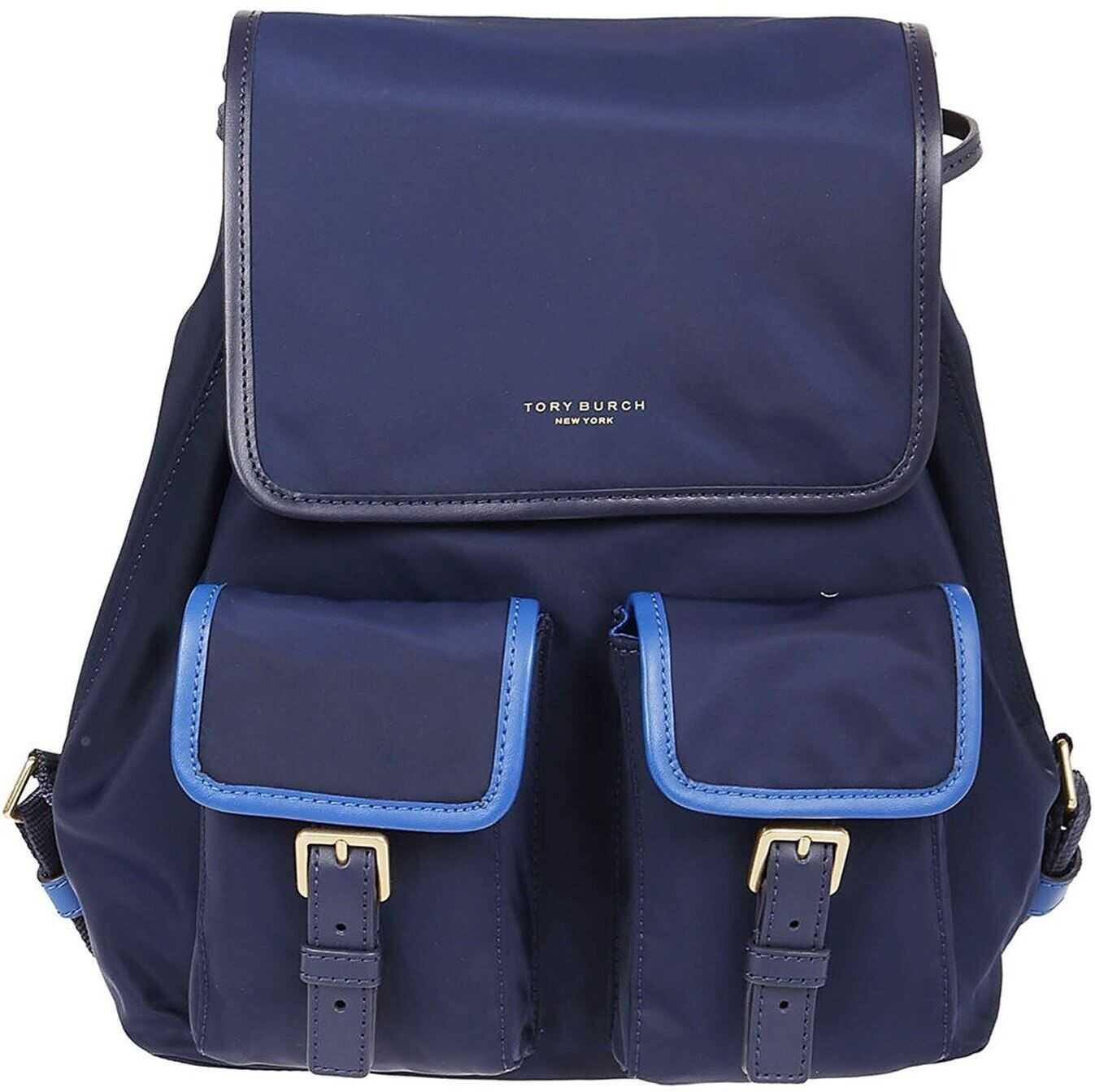 Tory Burch Perry Royal Blue Nylon Backpack Blue