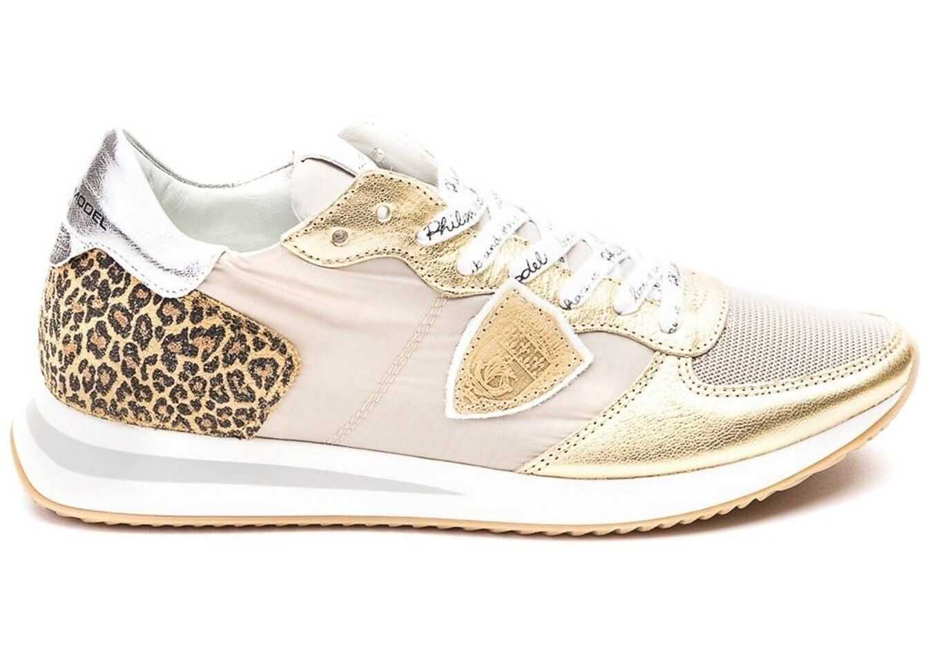 Philippe Model Tropez Mondial Animal Print Golden Sneakers Gold