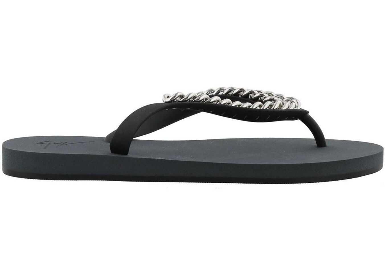 Giuseppe Zanotti Florida Chain Detail Flip Flops Black