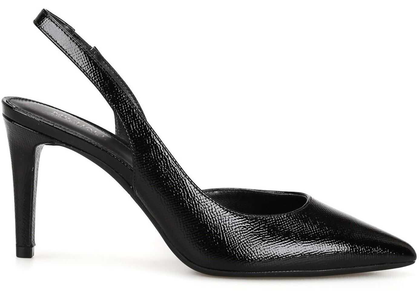Michael Kors Lucille Black Embossed Leather Slingbacks Black