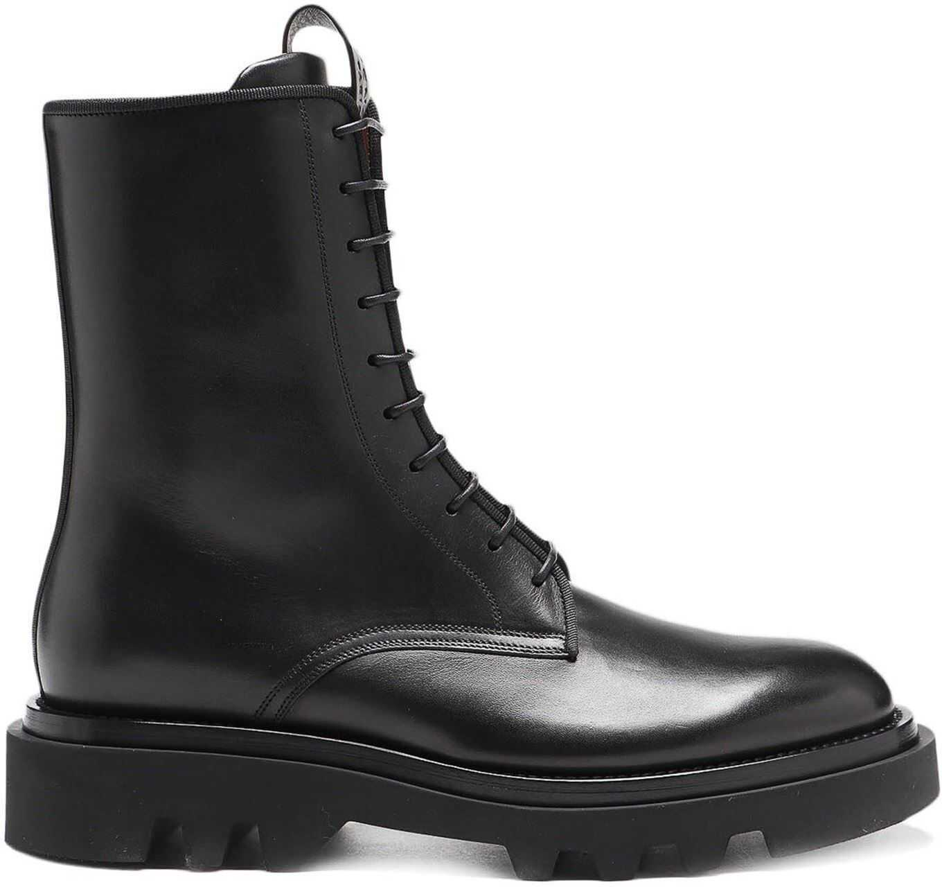 Givenchy Lace-Up Leather Combat Boots Black