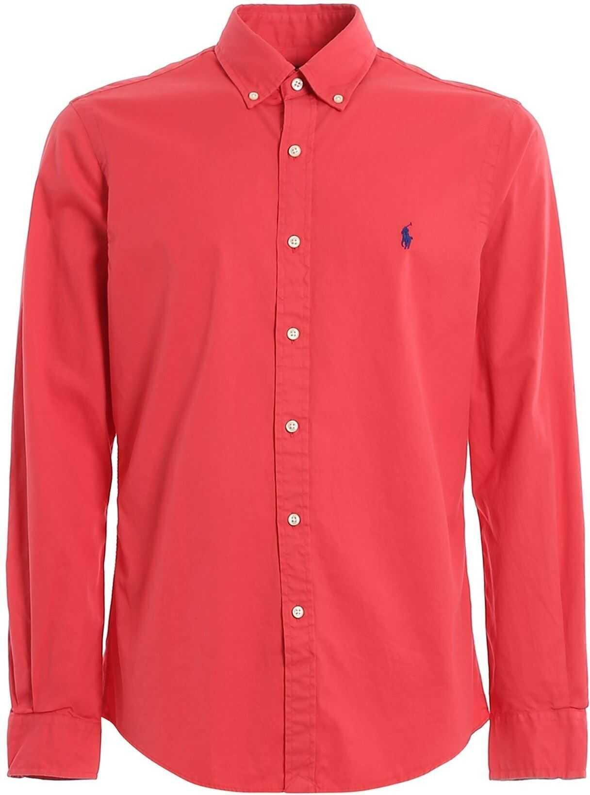 Ralph Lauren Logo Embroidery Cotton Shirt Red imagine