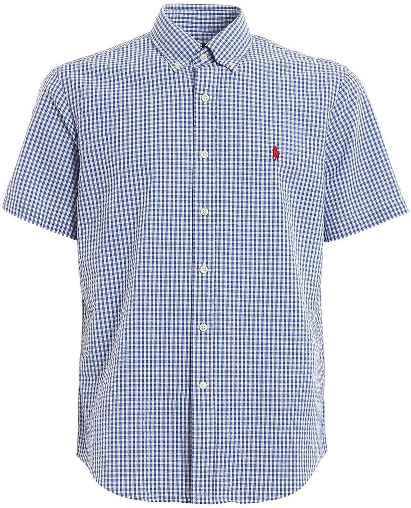 Ralph Lauren Check Print Short Sleeve Cotton Shirt Blue imagine