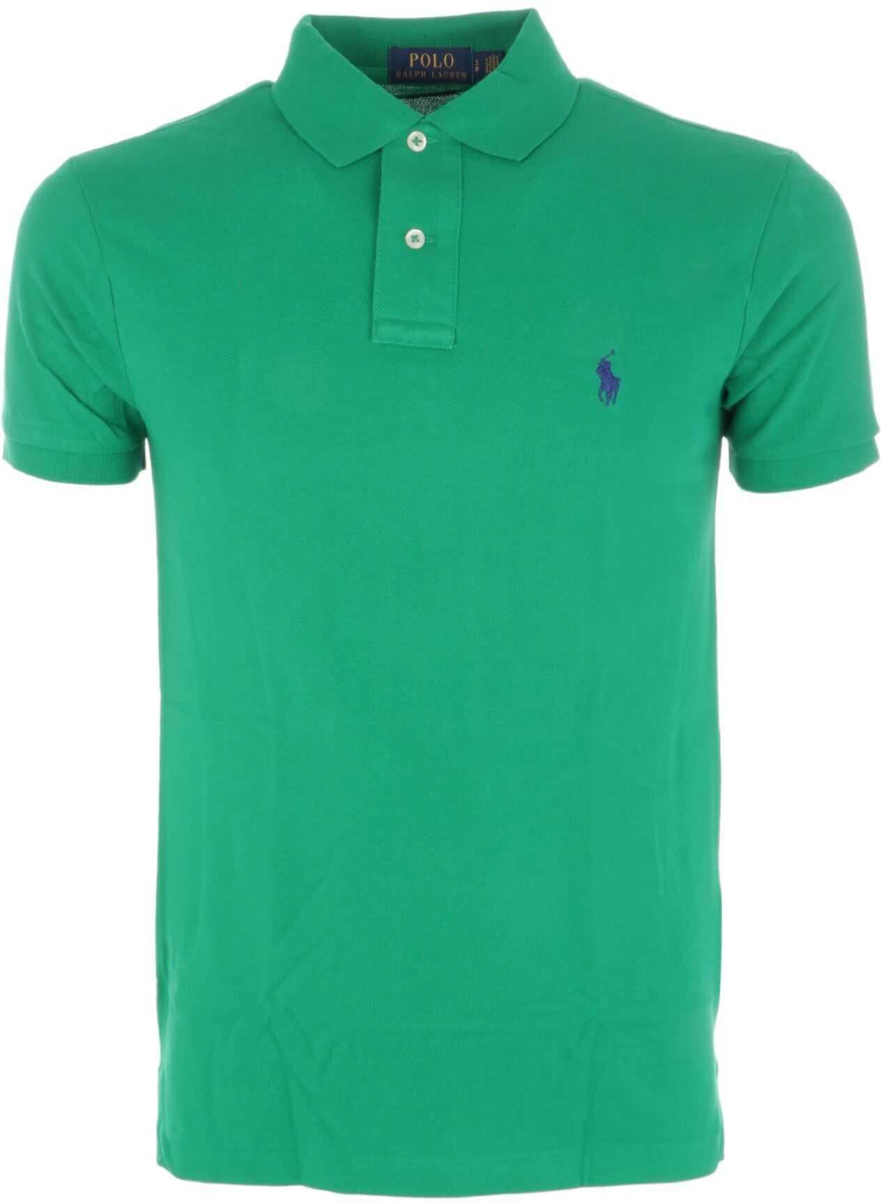 Ralph Lauren Green Slim Fit Cotton Pique Polo Green imagine
