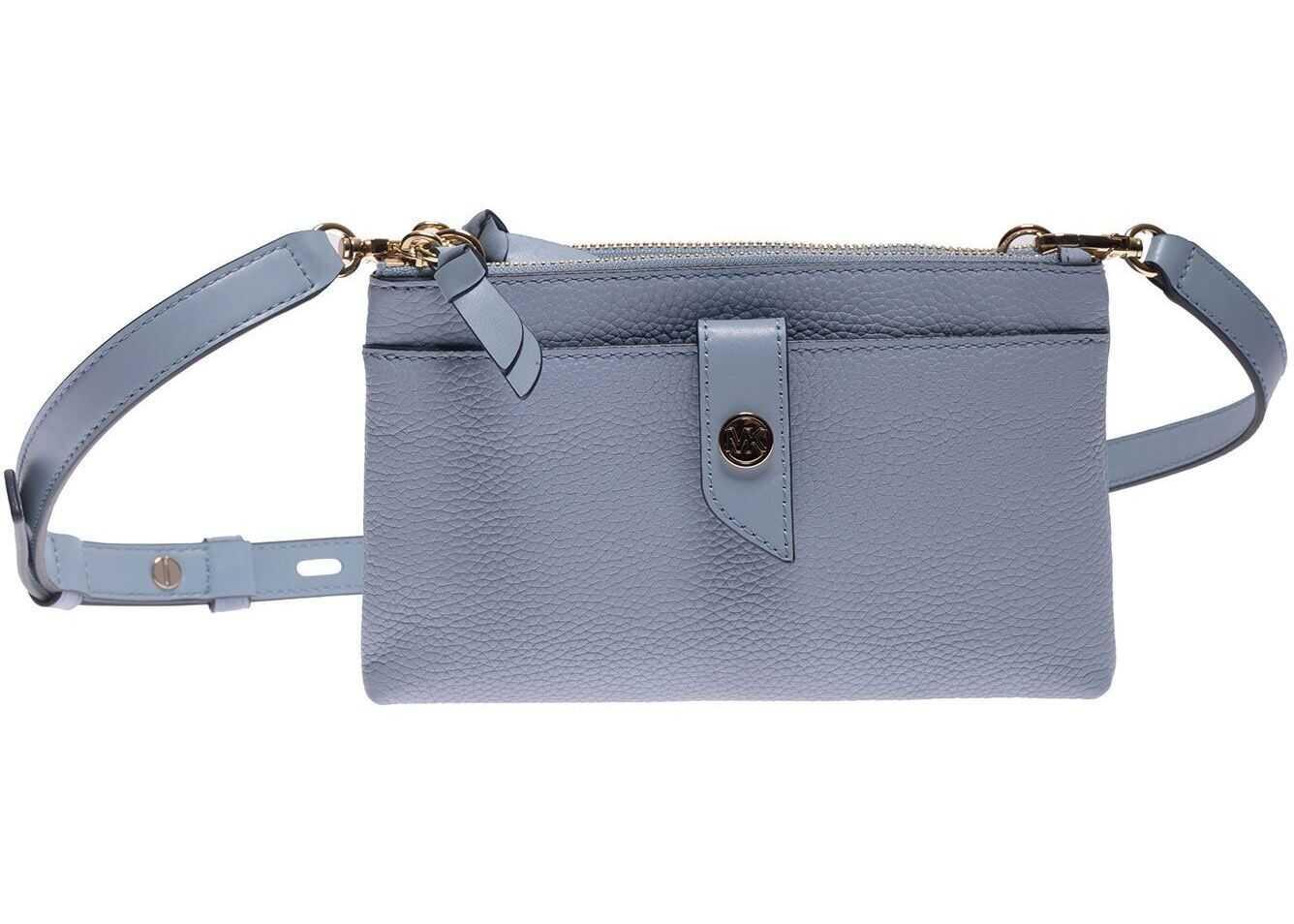 Michael Kors Mk Charm Shoulder Bag In Pale Blue 32S0G00C2L PALE BLU Light Blue imagine b-mall.ro