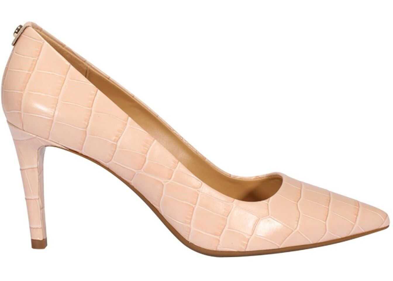 Michael Kors Dorothy Flex Croco Print Leather Pumps Pink