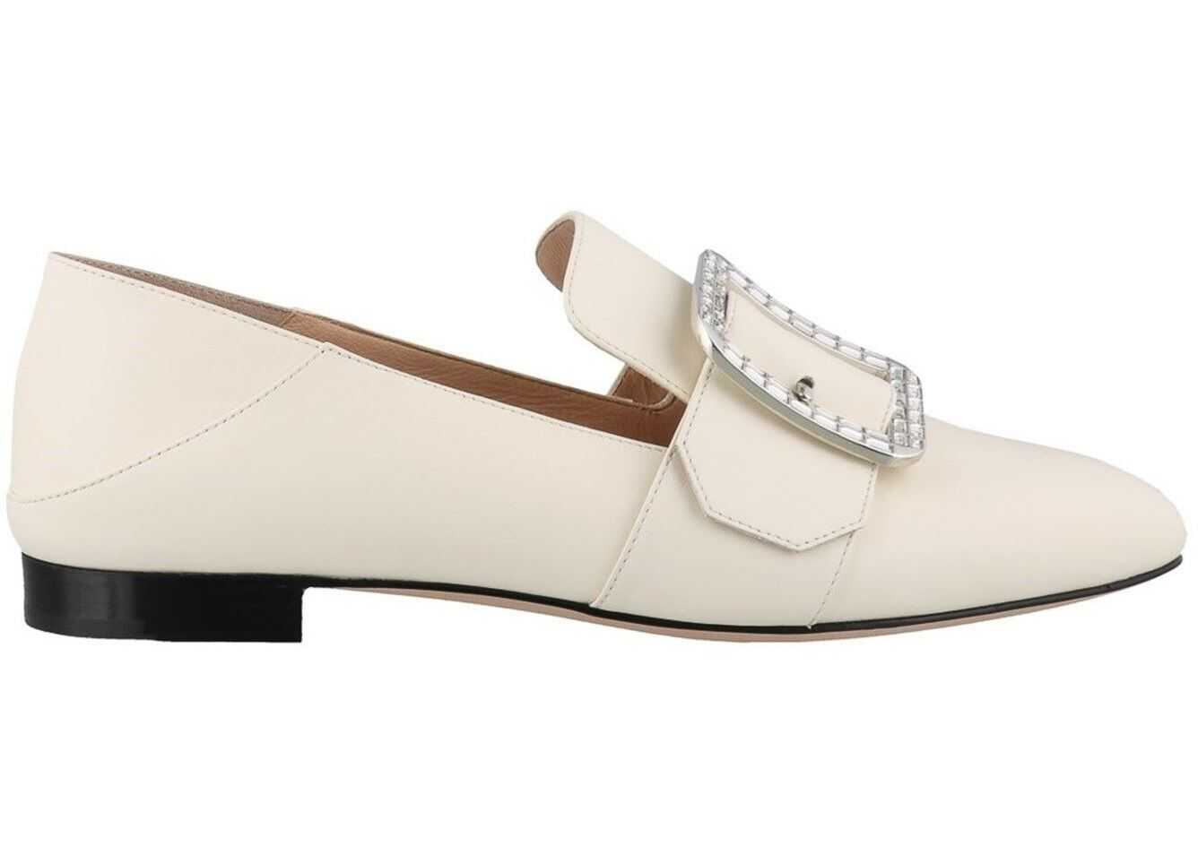 Bally Janelle Loafers With Jewel Buckle Cream