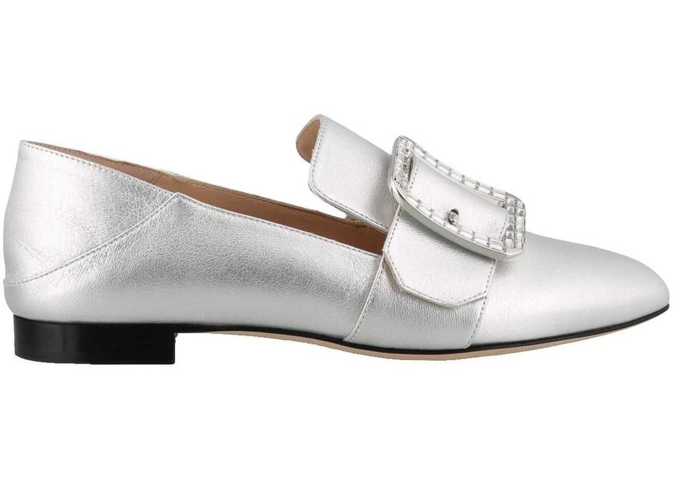 Bally Janelle Crystal Buckle Slippers Silver