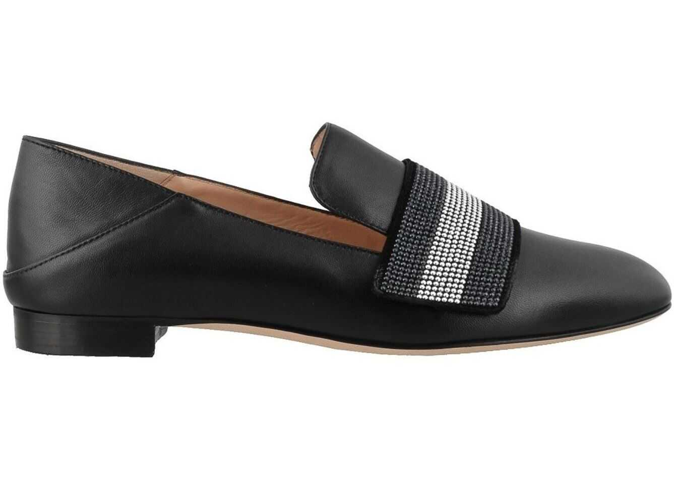 Bally Jannie Leather Slippers Black
