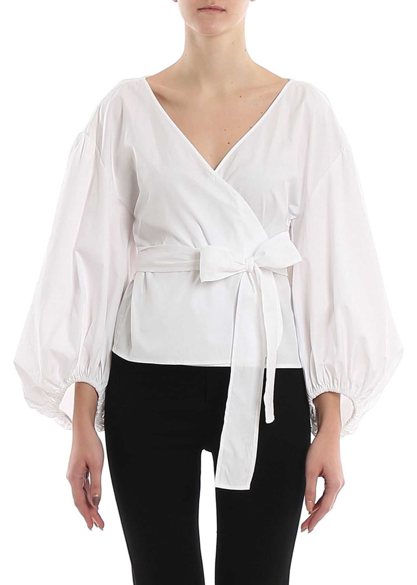 Michael Kors Balloon Sleeved Wrap Blouse White