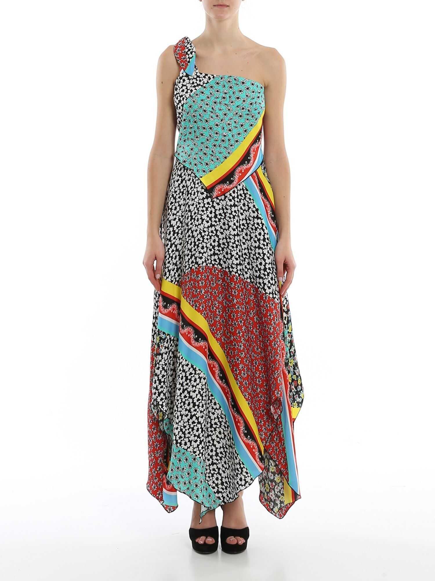 Be Blumarine Foulard Print One Shoulder Dress Multi
