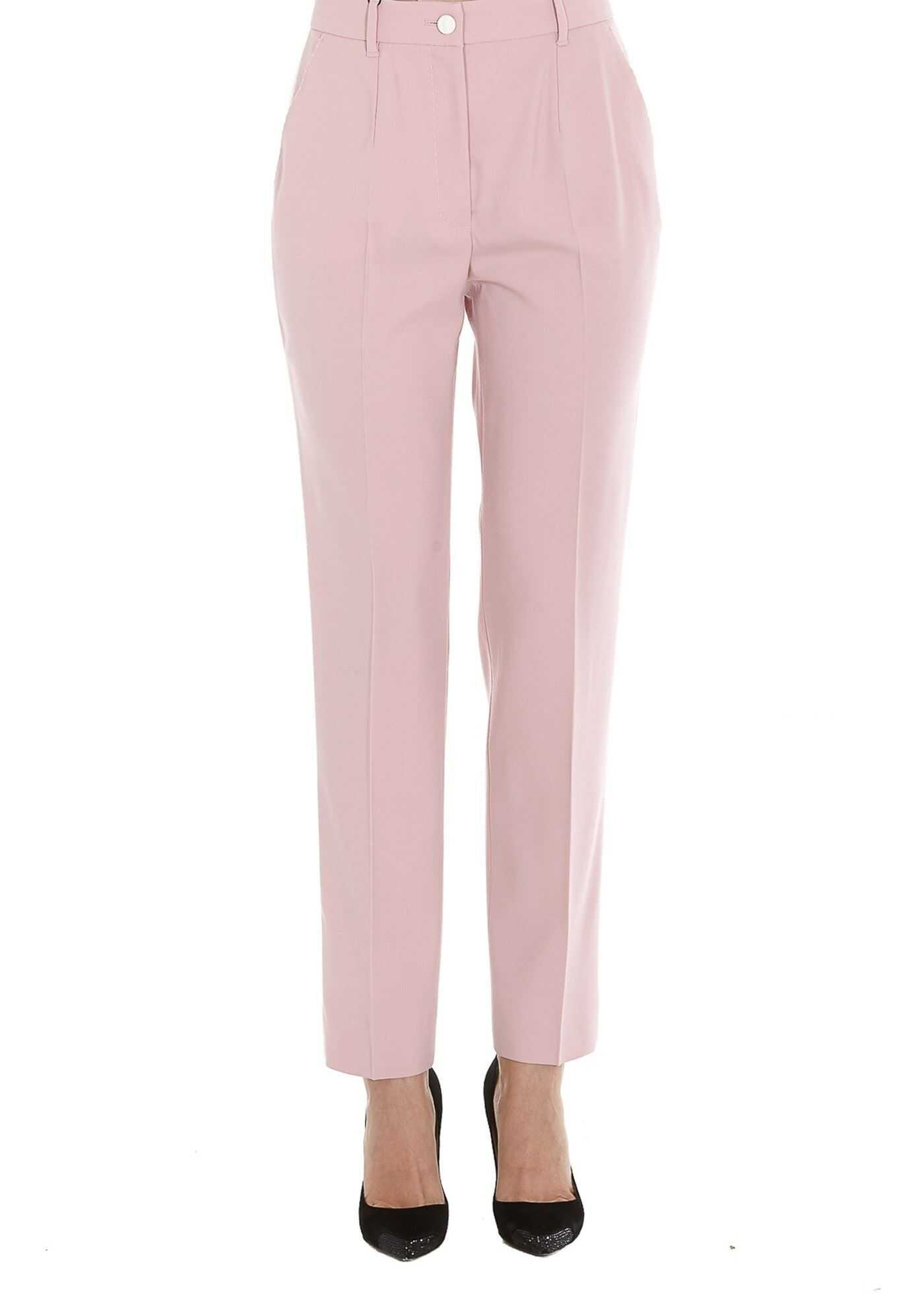 Dolce & Gabbana Wool Trousers With Contrasting Bands Pink