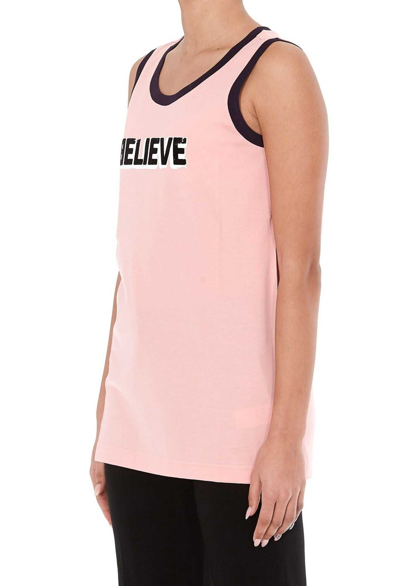 Dolce & Gabbana Used Effect Print Jersey Tank Top Pink