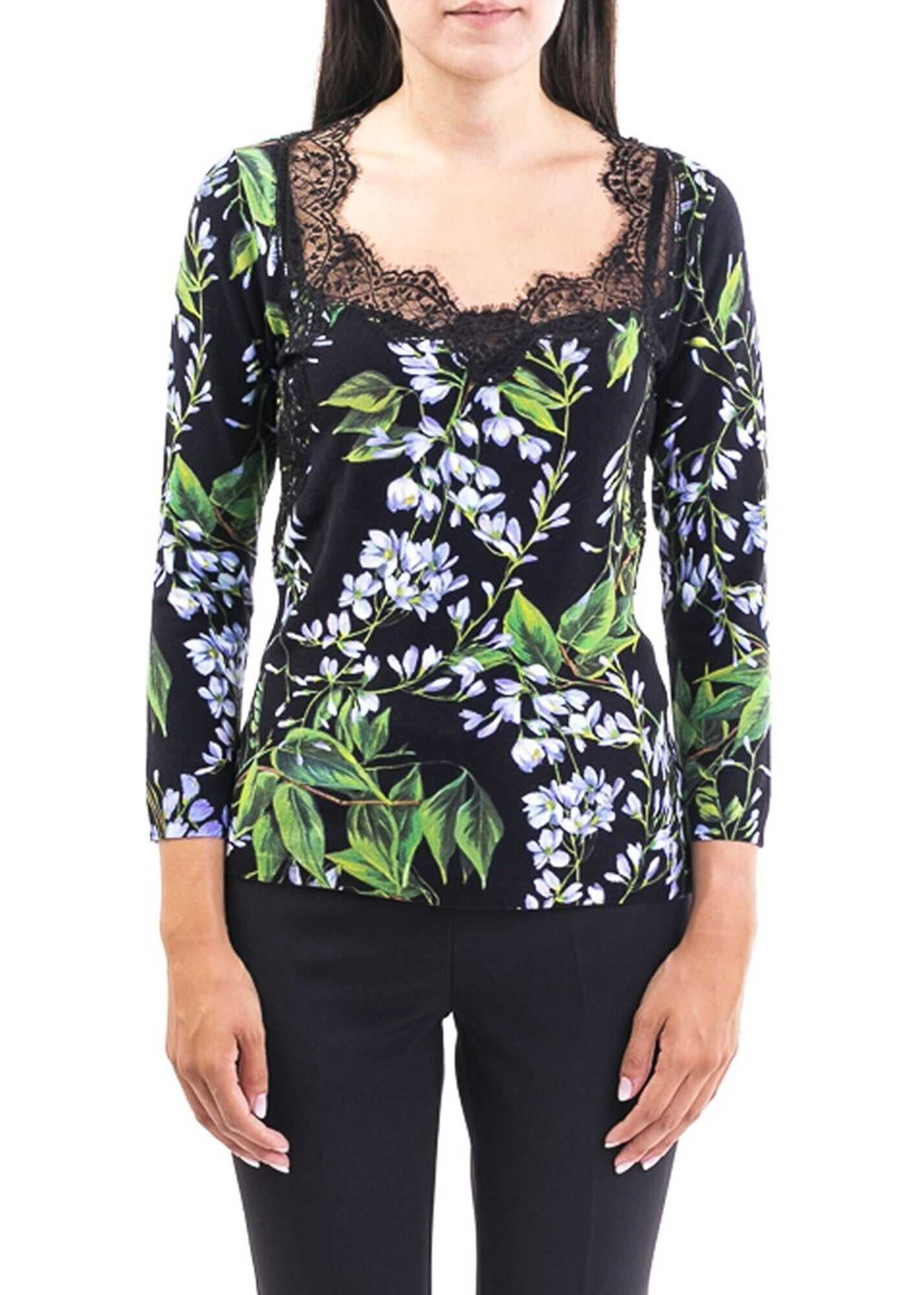 Blumarine Floral Print Viscose Top Black