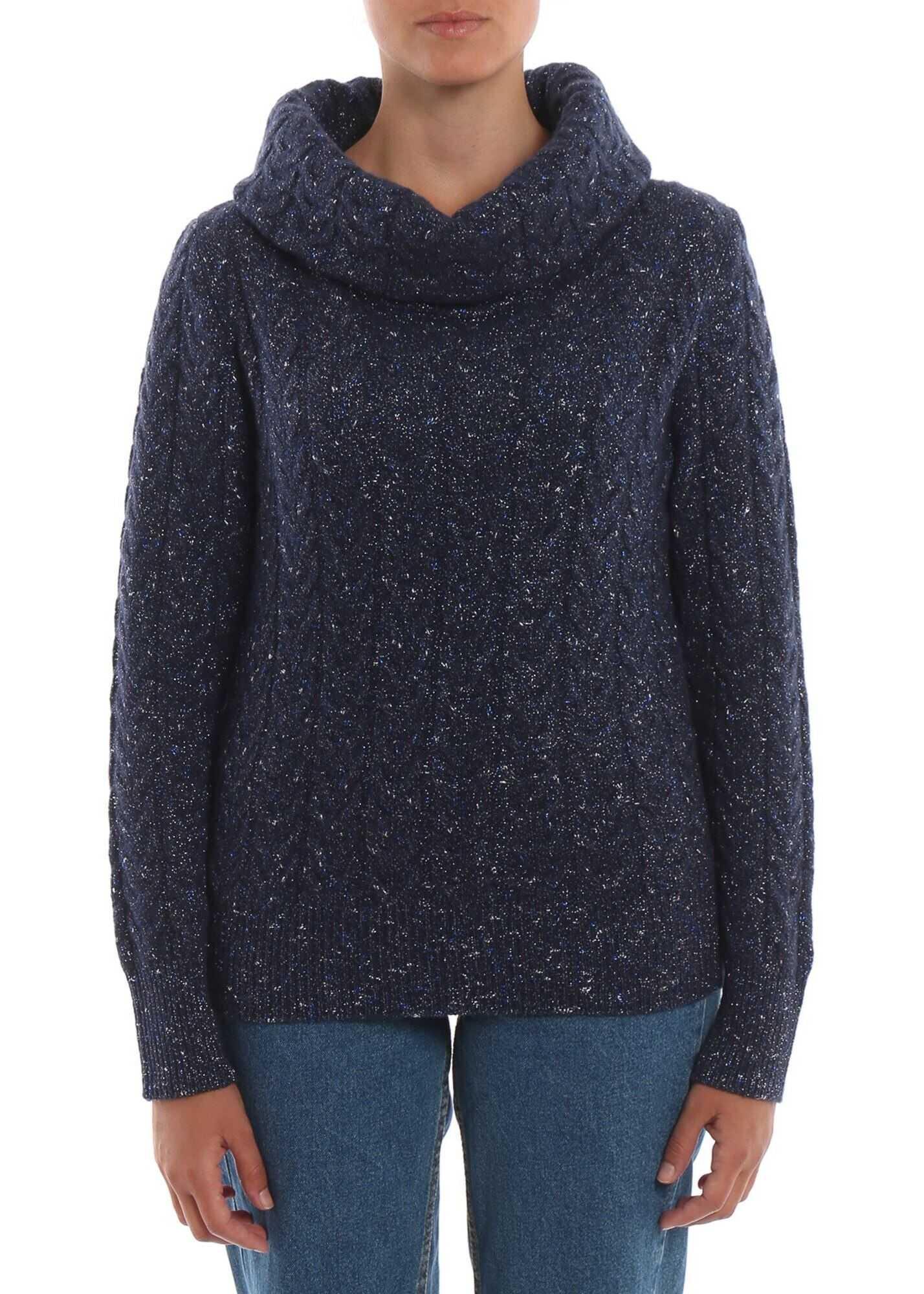 Blumarine Wool And Lurex Blend Sweater Blue
