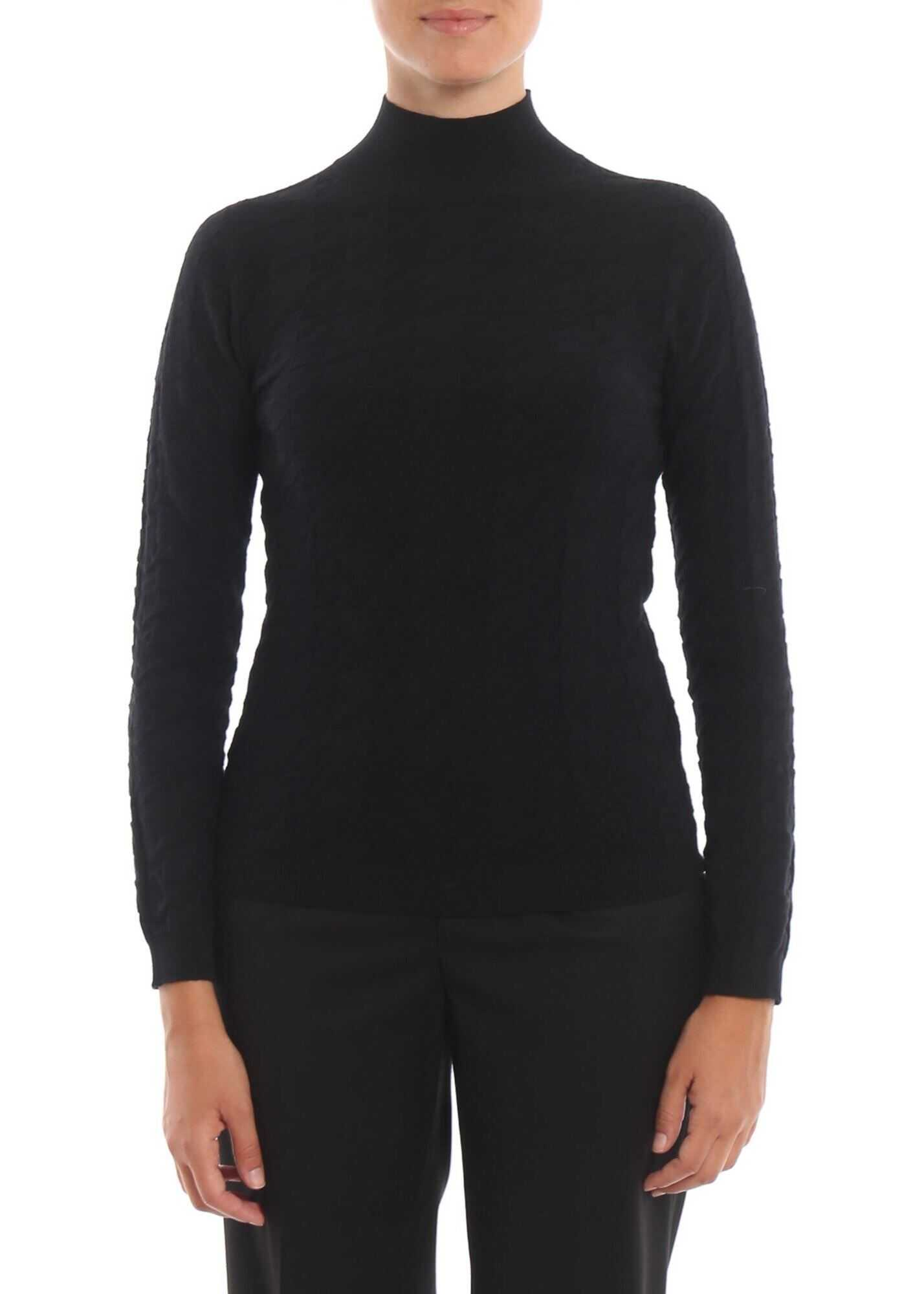 Blumarine Black Wool Turtleneck Sweater Black