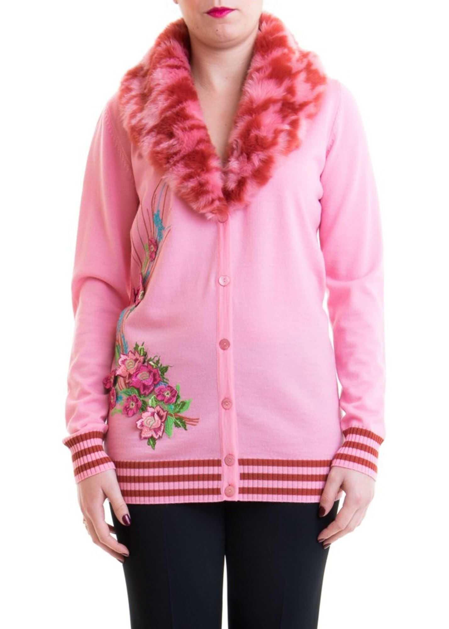 Blumarine Cardigan With Faux Fur Collar Pink
