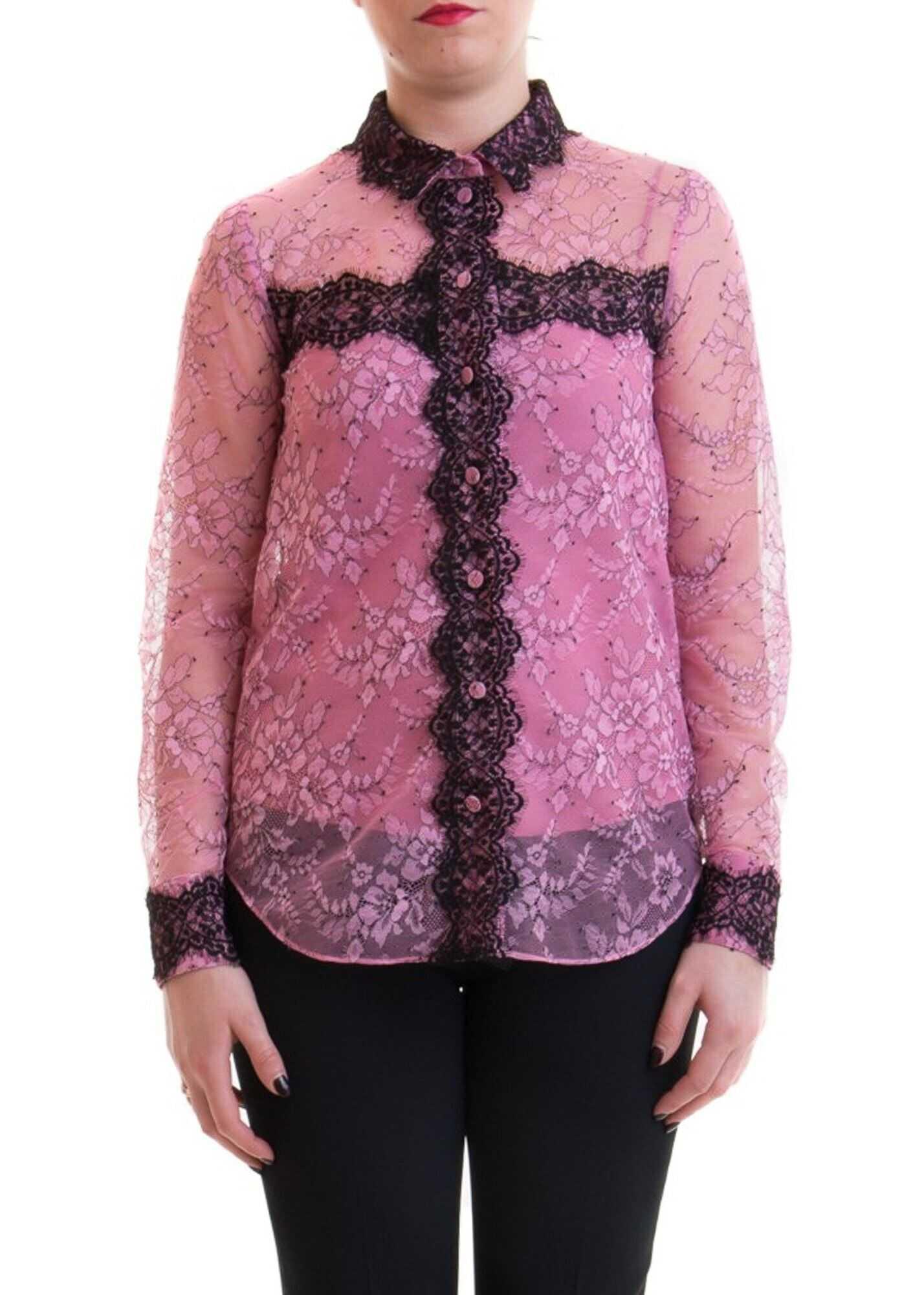 Blumarine Two-Tone Lace Shirt Pink