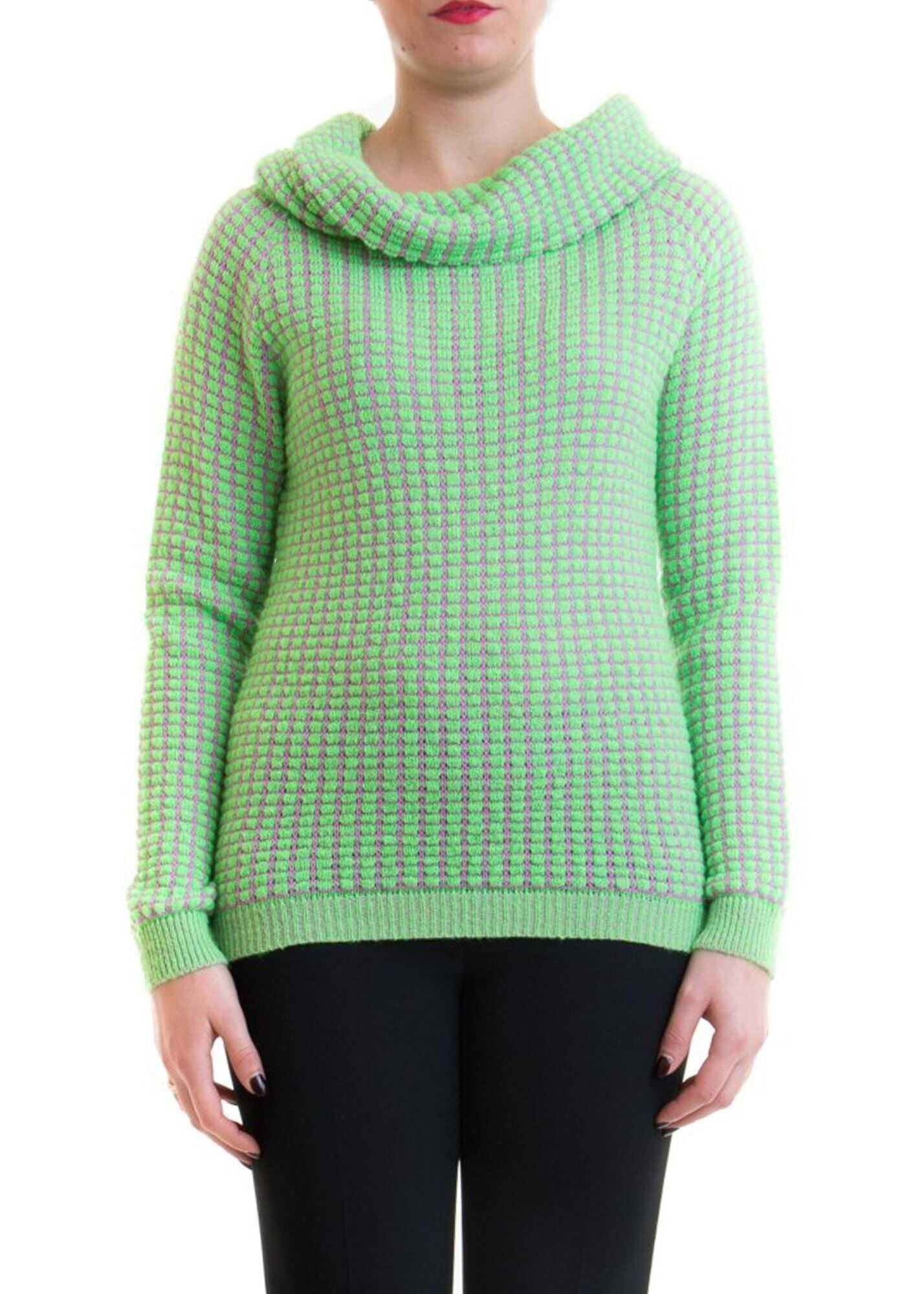 Blumarine Patterned Sweater With Cowl Collar Green