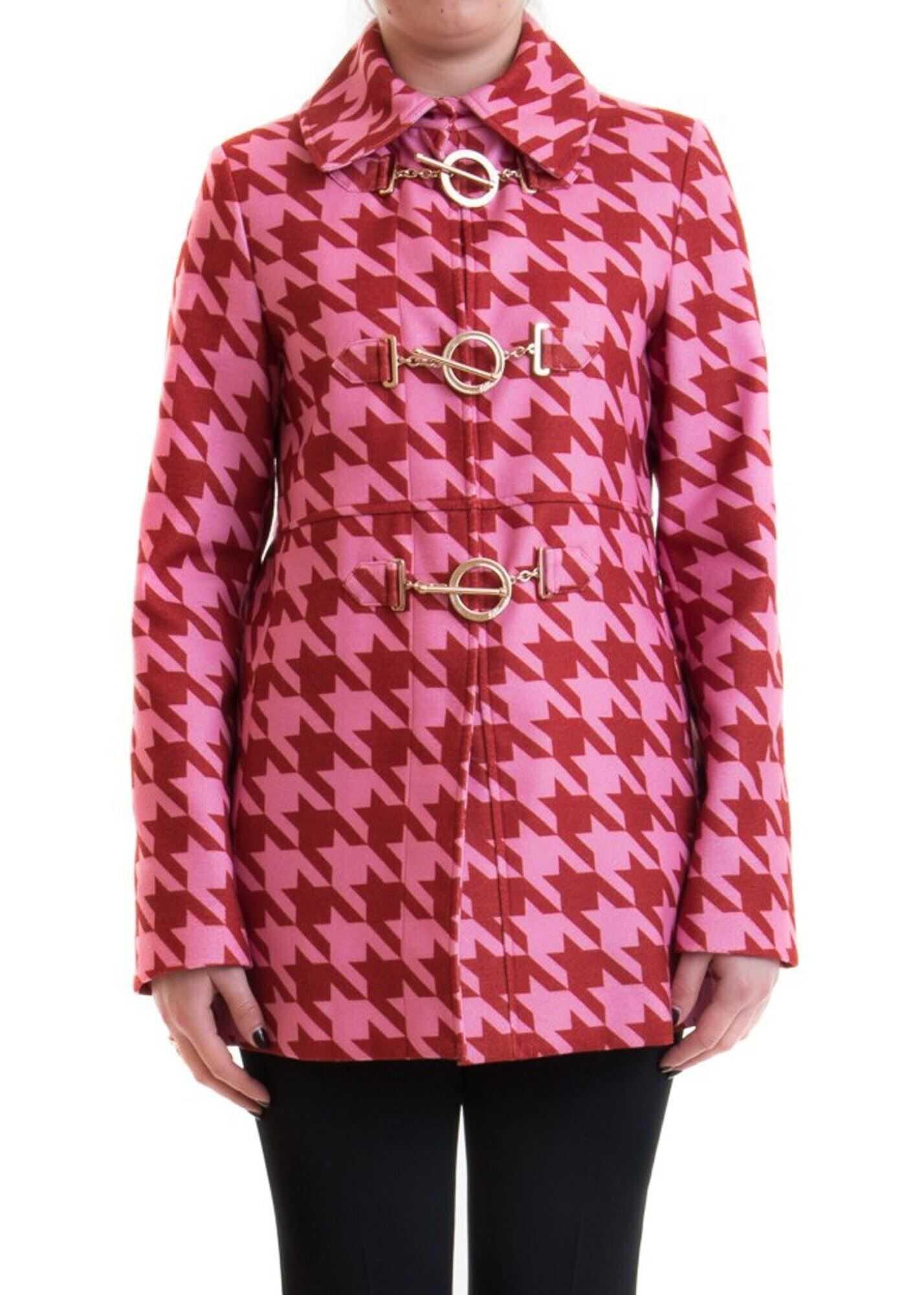 Blumarine Houndstooth Coat Pink