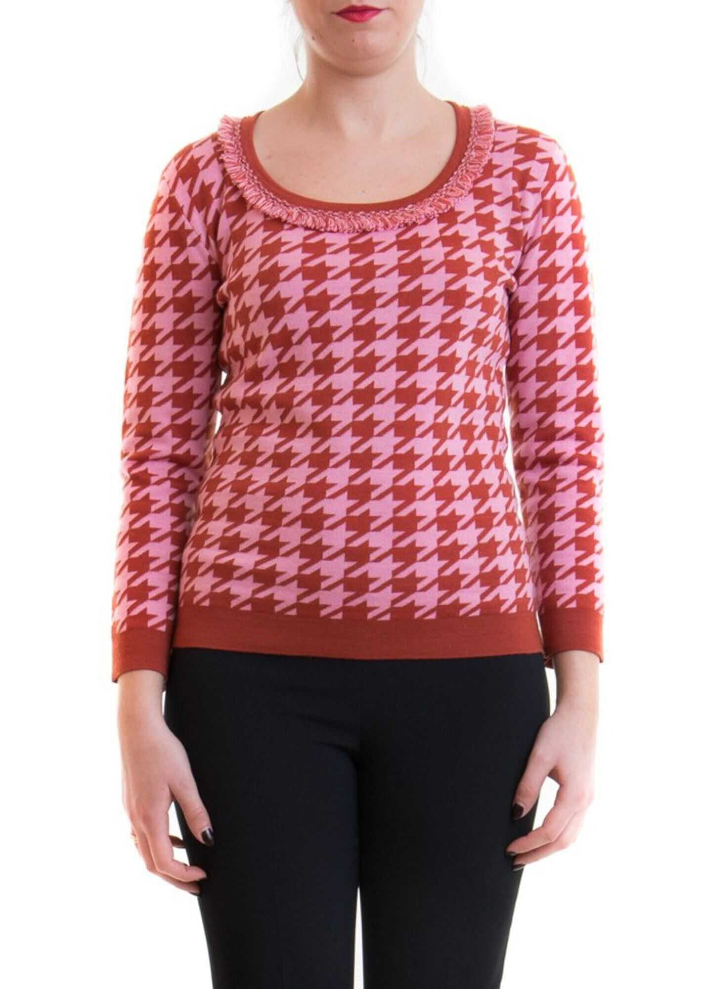 Blumarine Houndstooth Patterned Sweater Pink
