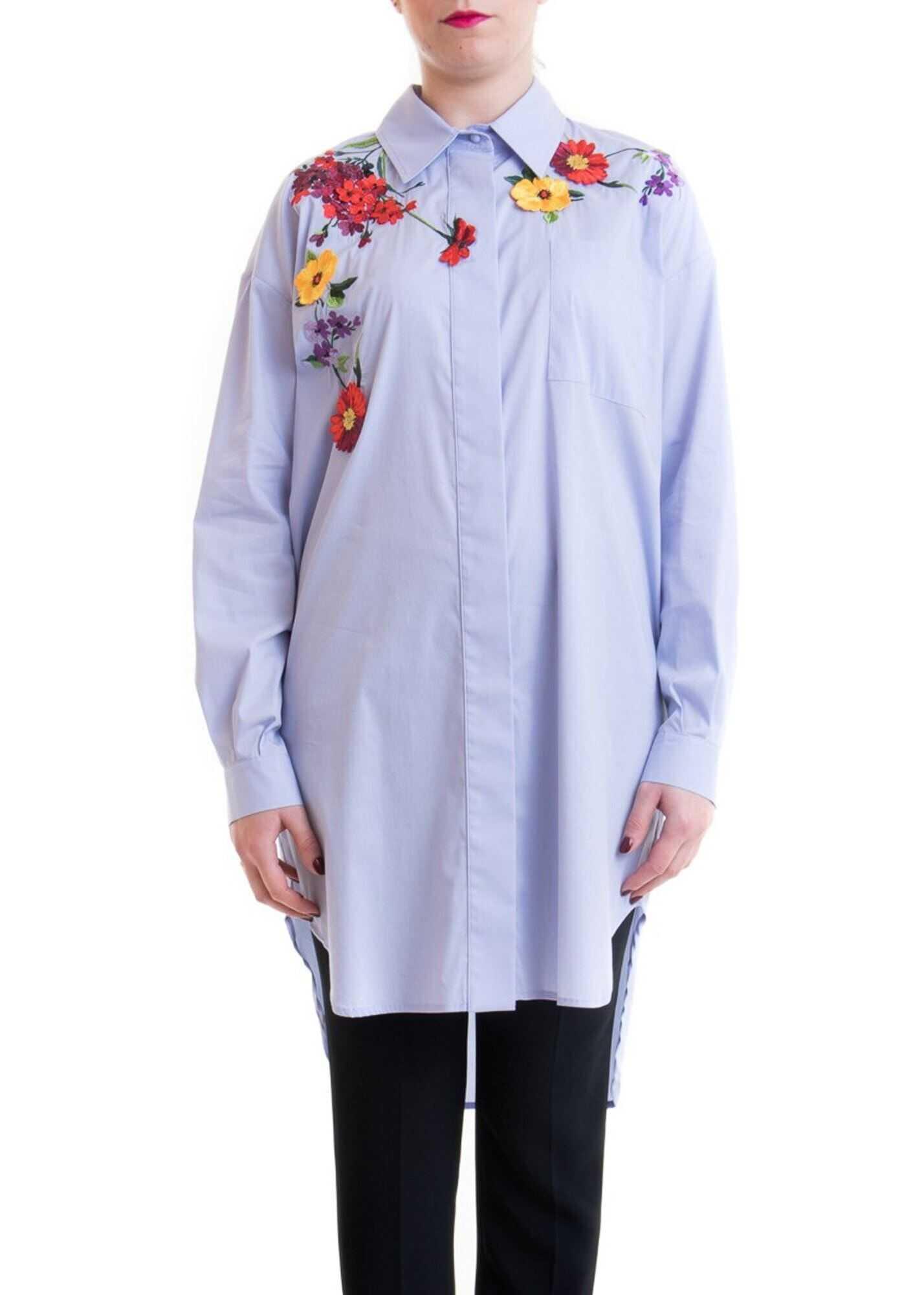 Blumarine Flowers Embroidery Oversized Shirt Light Blue