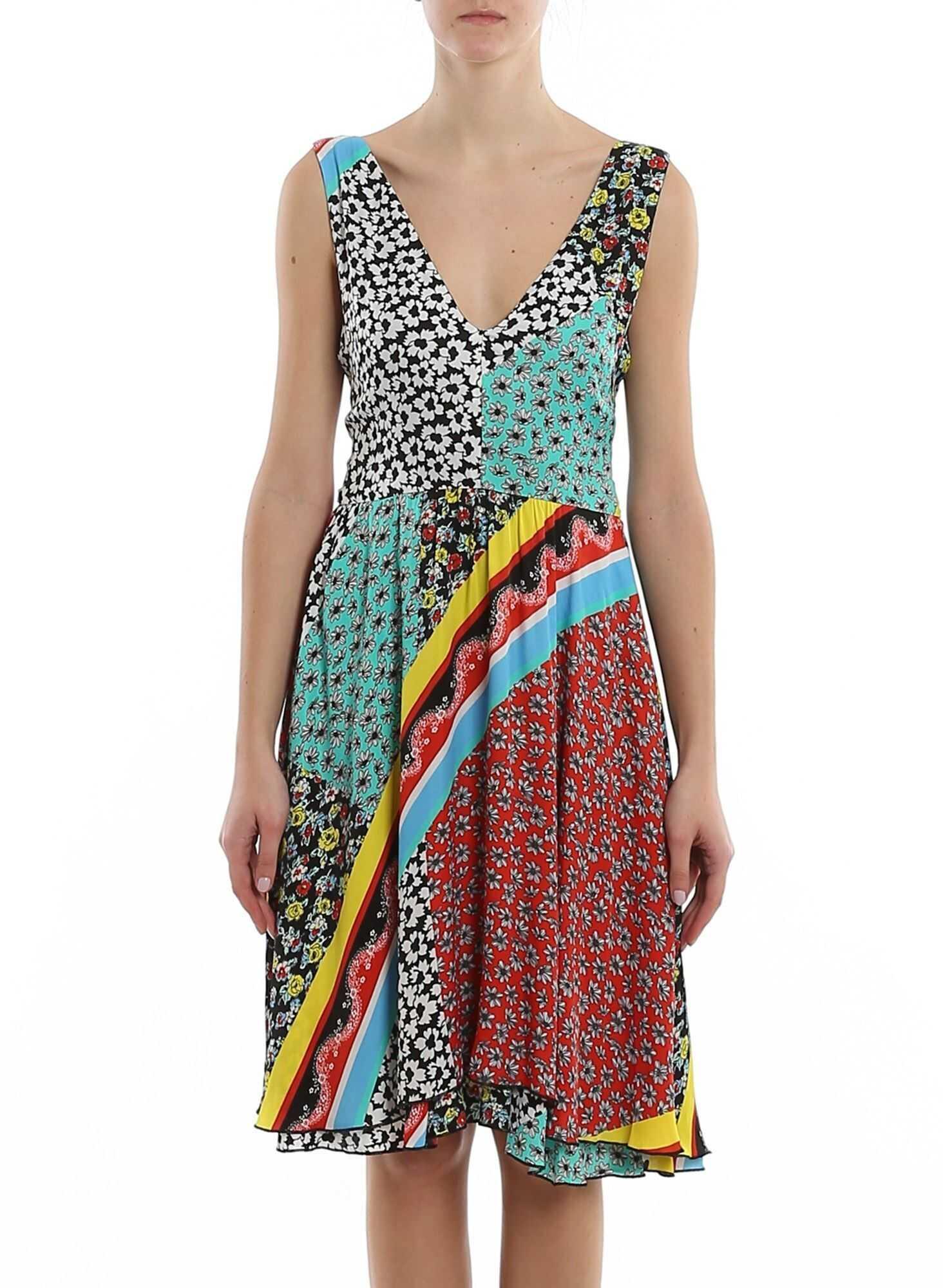 Be Blumarine Knot Detail Foulard Print Dress Multi