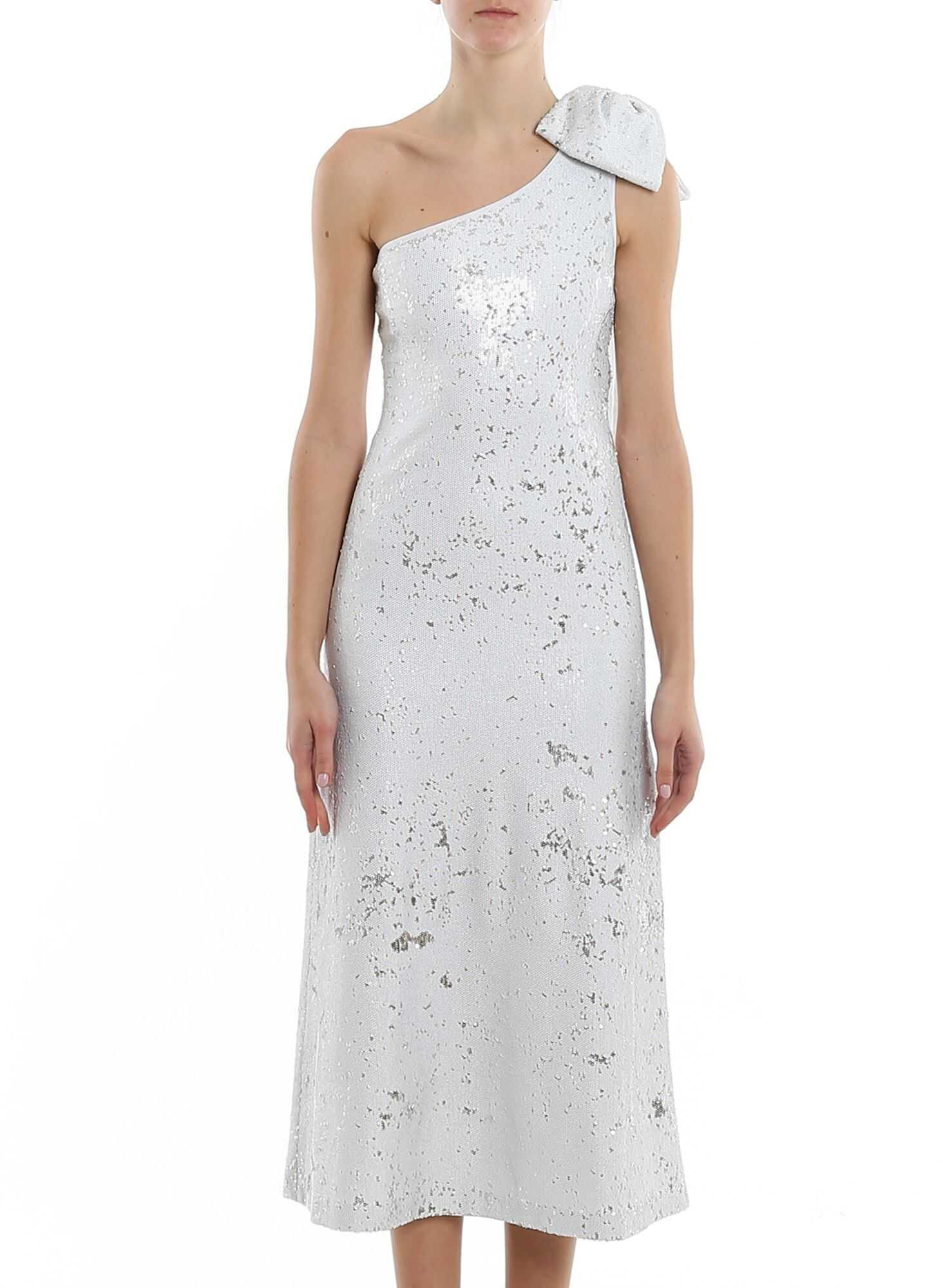 Be Blumarine One Shoulder Sequin Dress With Bow White
