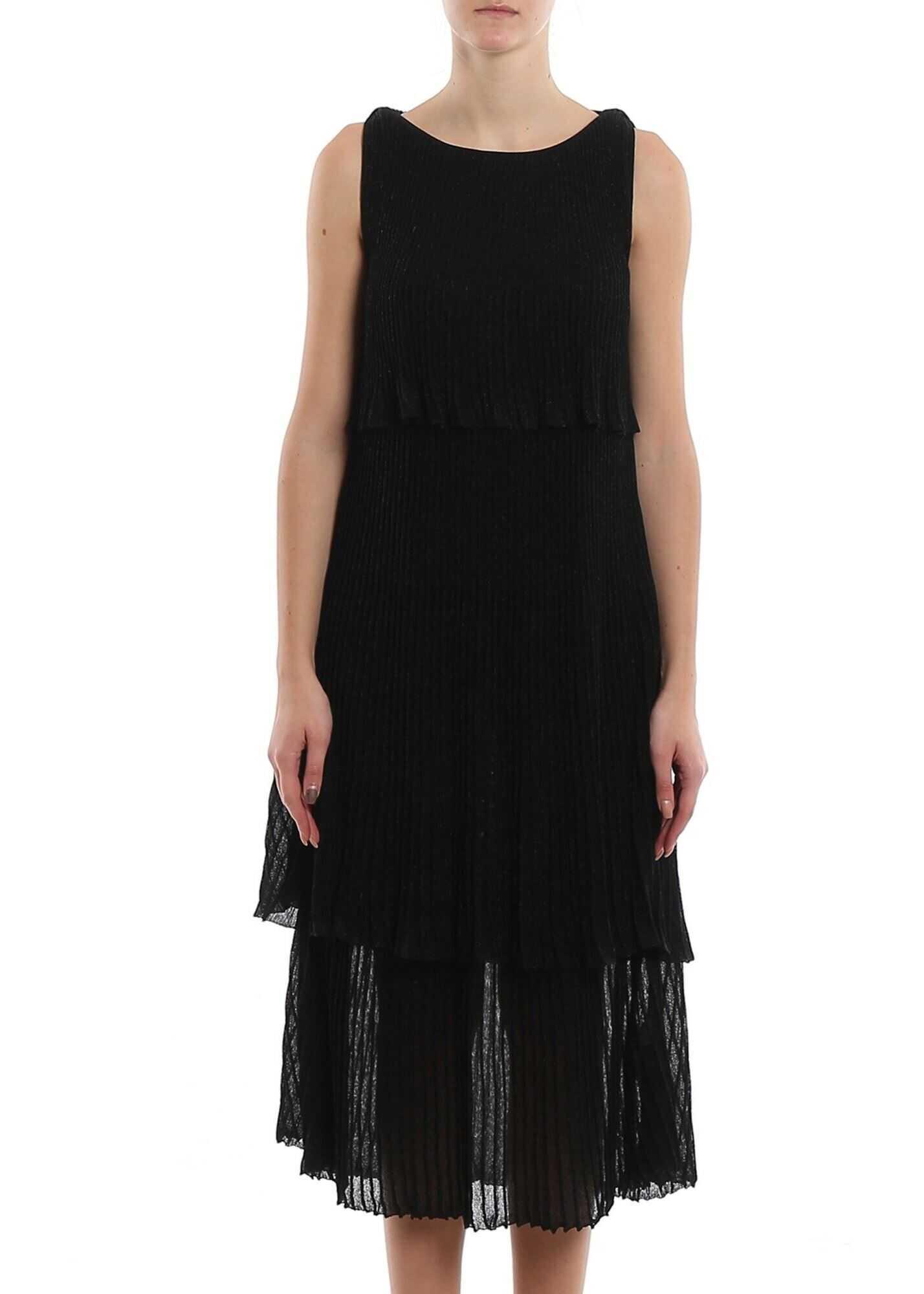 Be Blumarine Lurex Flounced Sleeveless Dress Black