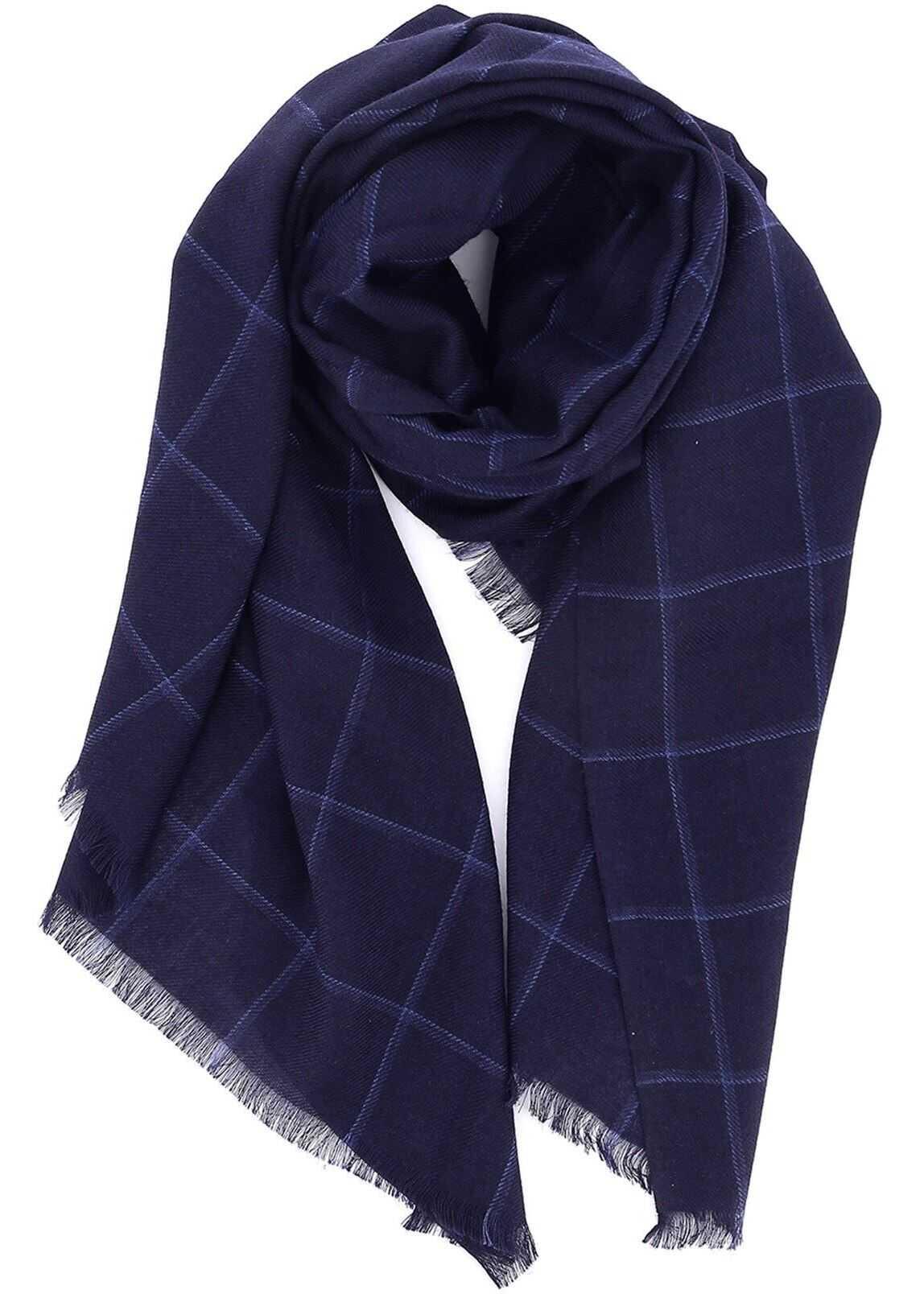 CORNELIANI Checked Silk Cashmere Blend Scarf Blue