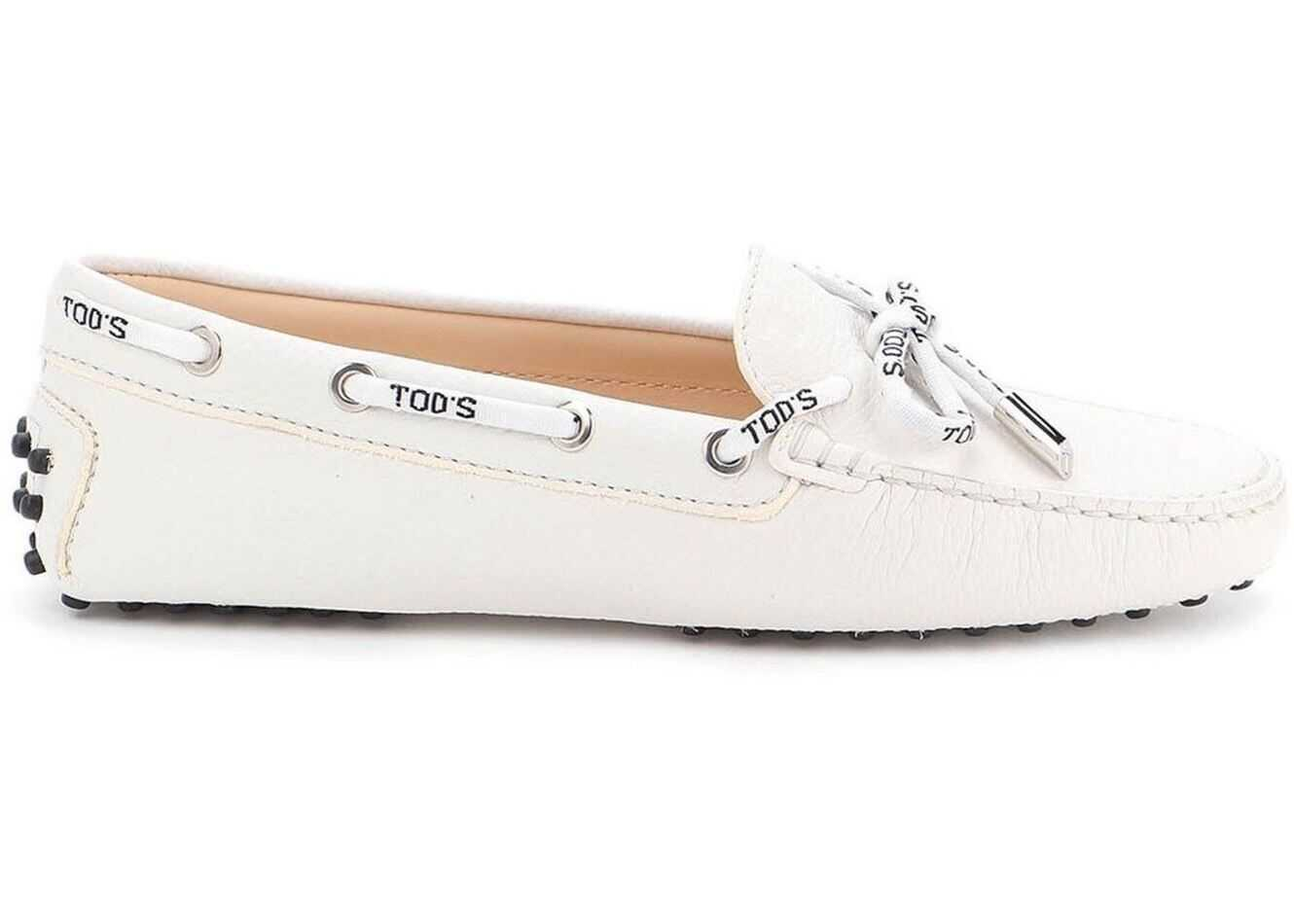 TOD'S Gommino Hammered Leather Loafers White