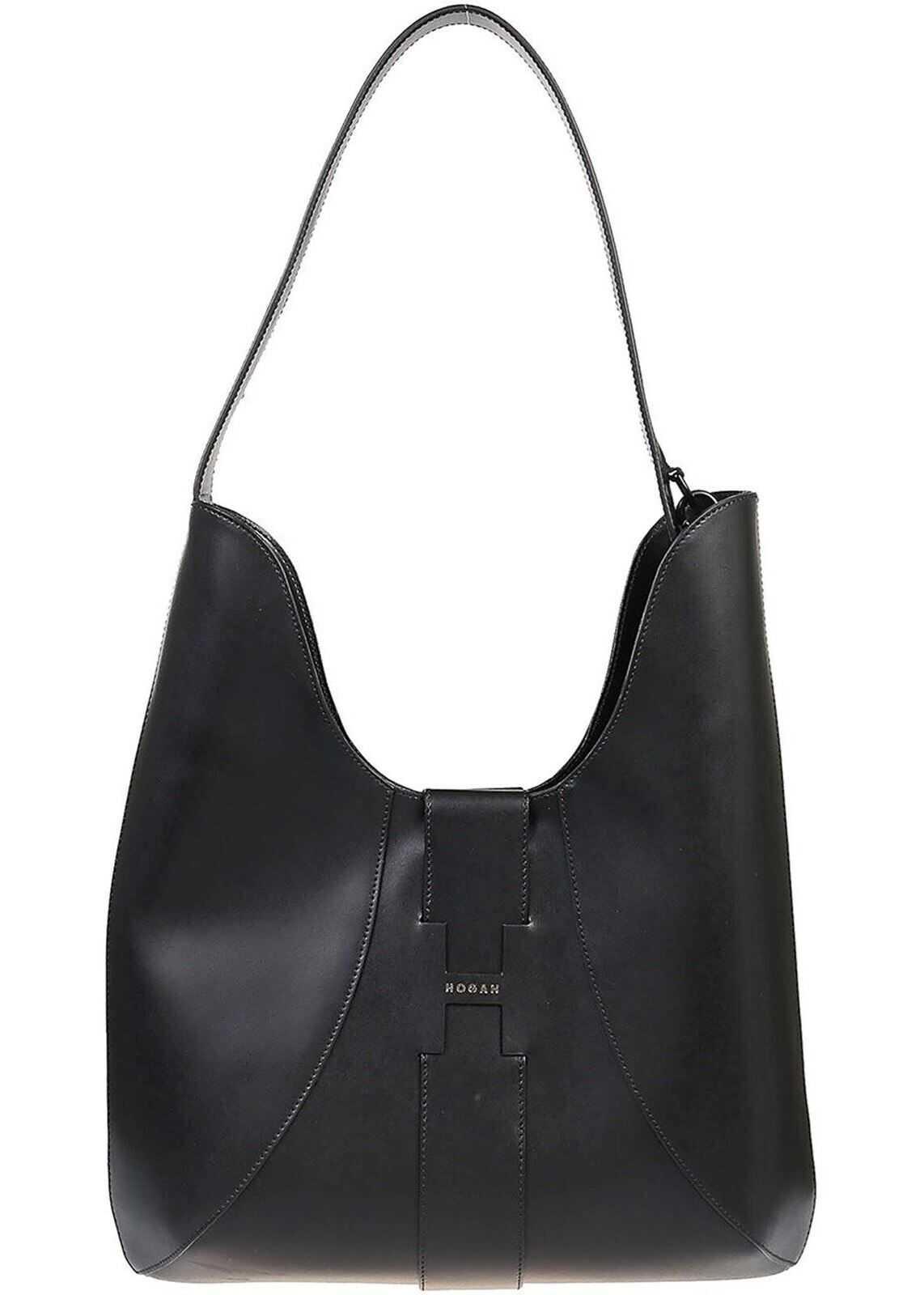 Hogan Black Leather Hobo Bag KBW01BS0300J60B999 Black imagine b-mall.ro