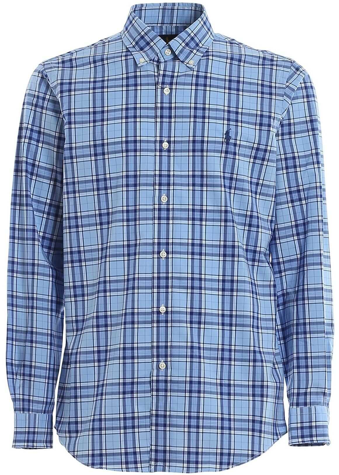 Ralph Lauren Check Print Shirt In Blue And Light Blue Blue imagine