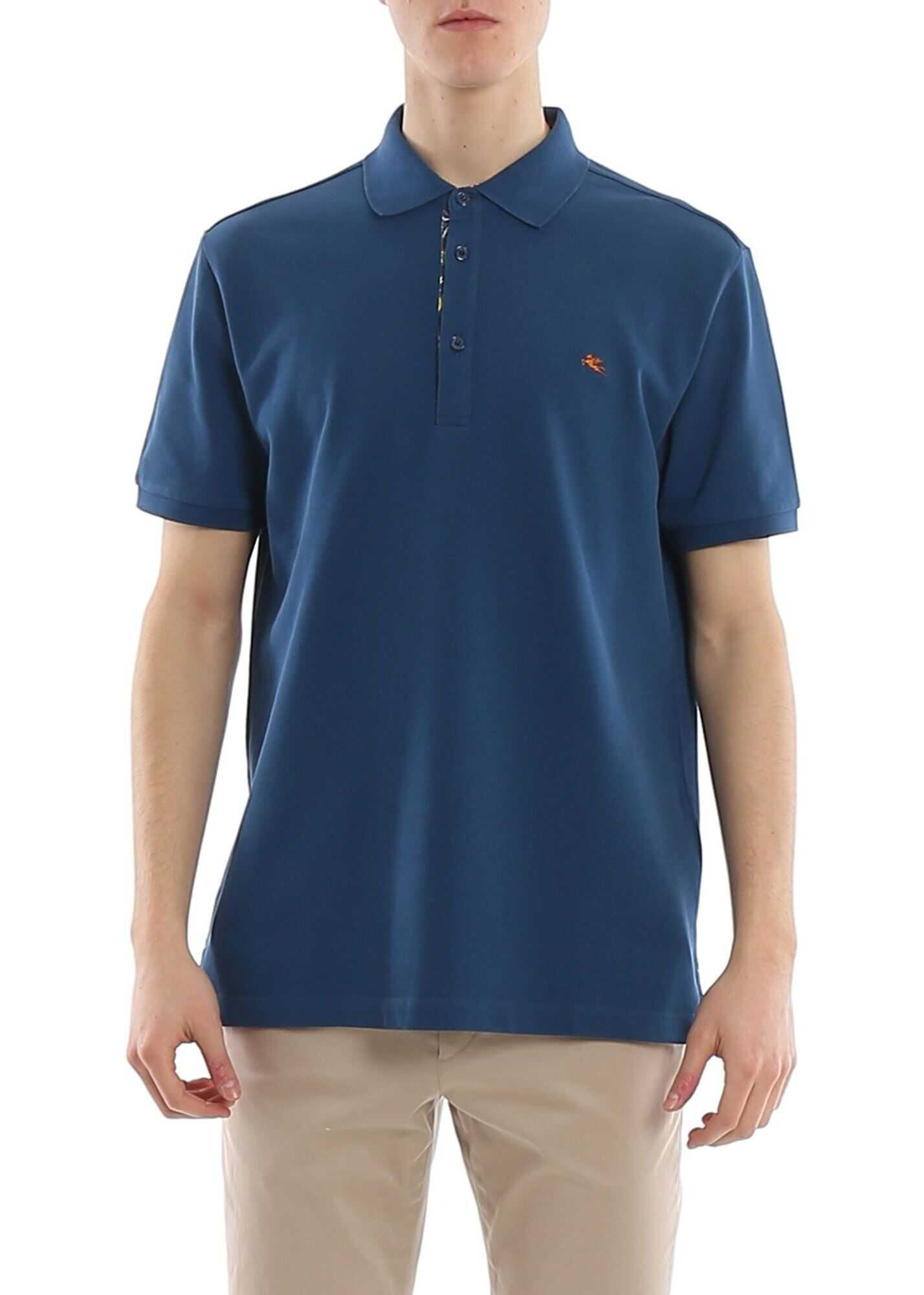 ETRO Chest Pegaso Logo Embroidery Polo Blue